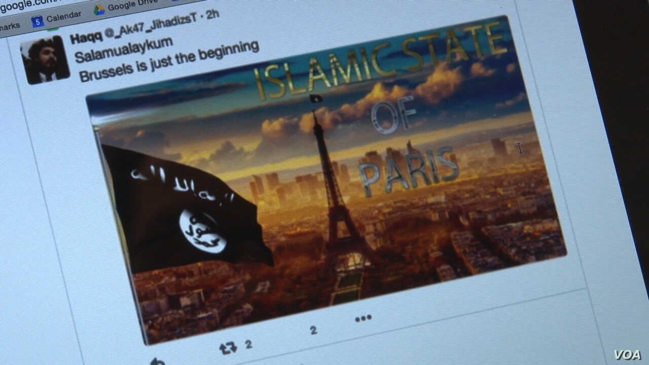 A Twitter feed after the Brussels attack by Islamic State logged by the Center for Extremism at George Washington University.