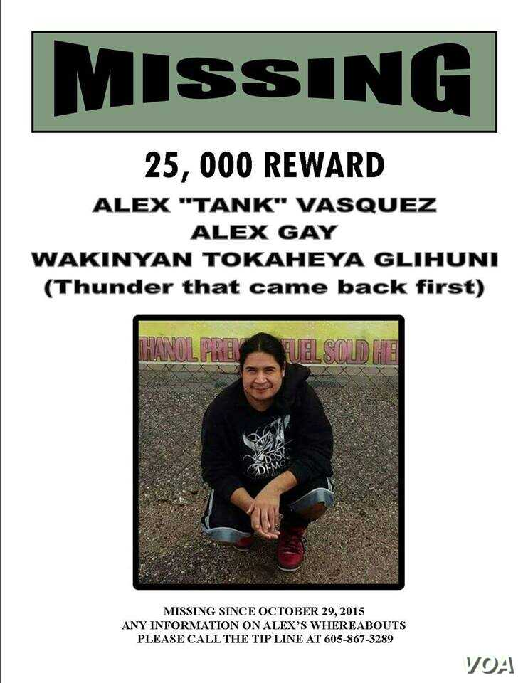 Missing Persons flyer for Alex Vazquez, missing since October 2016.