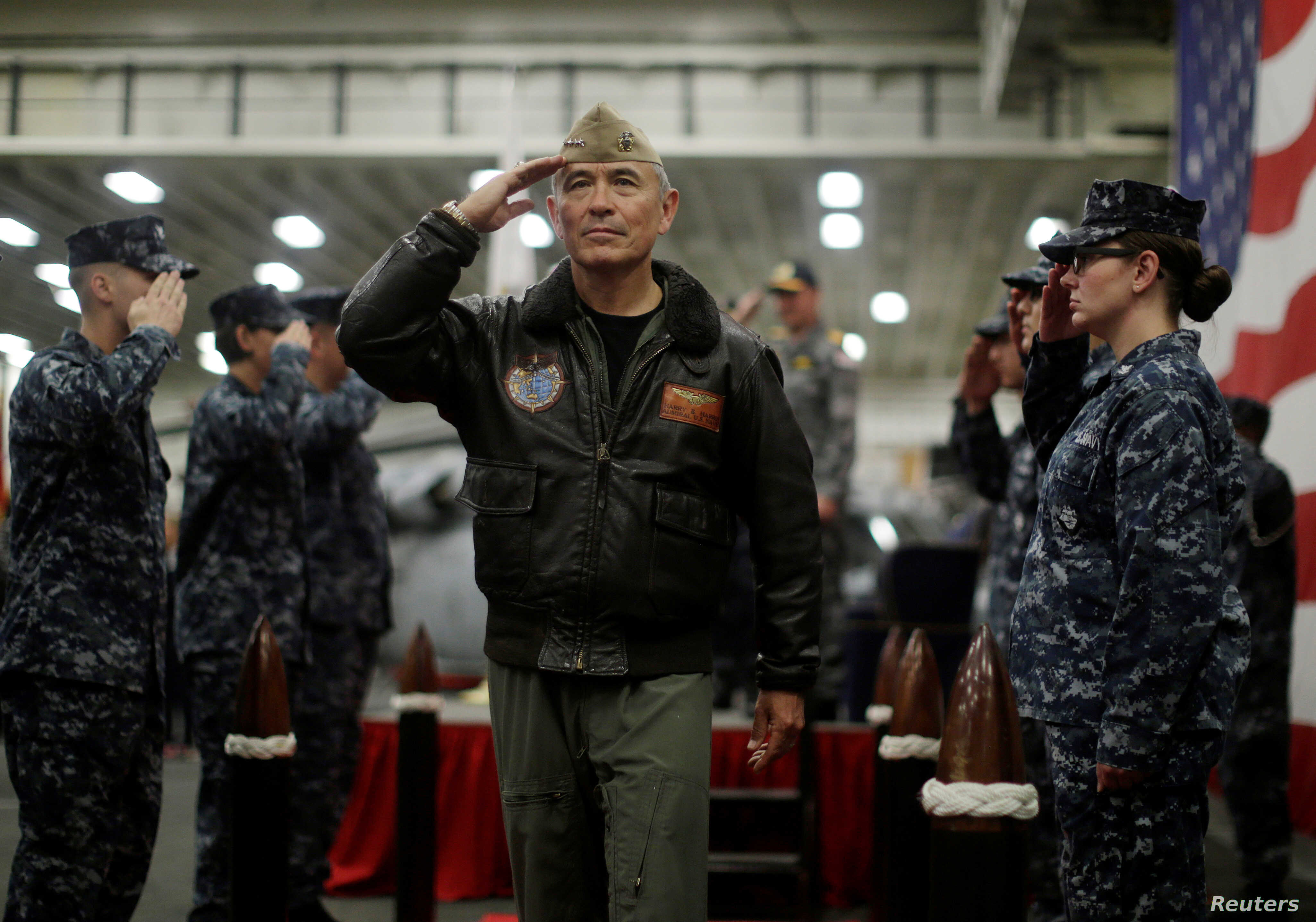 U.S. Navy Admiral Harry Harris, Commander of the U.S. Pacific Command, salutes at a ceremony marking the start of Talisman Saber 2017, a biennial joint military exercise between the United States and Australia,  June 29, 2017.