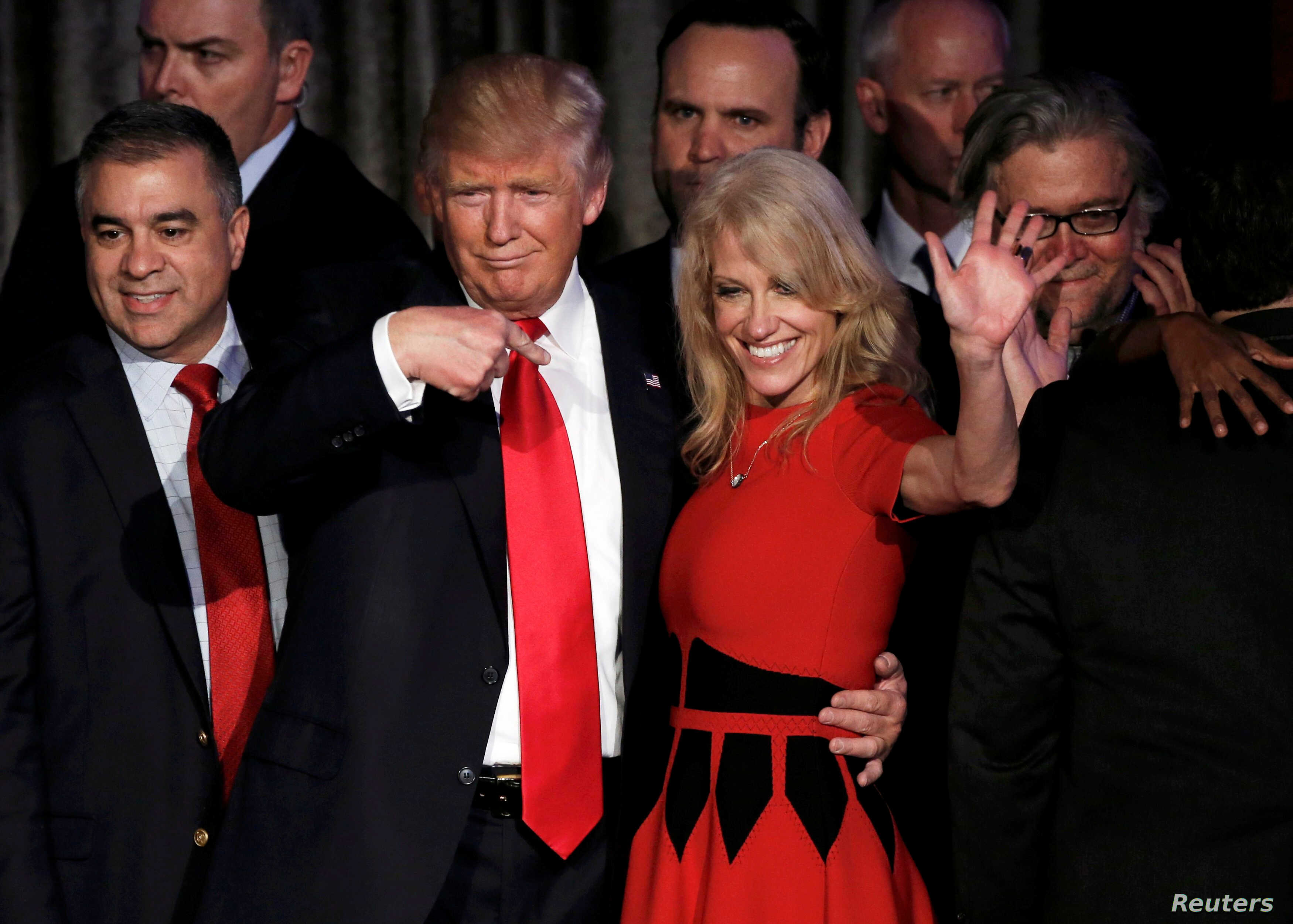 U.S. President-elect Donald Trump and his campaign manager Kellyanne Conway greet supporters during his election night rally in Manhattan, New York, Nov. 9, 2016.