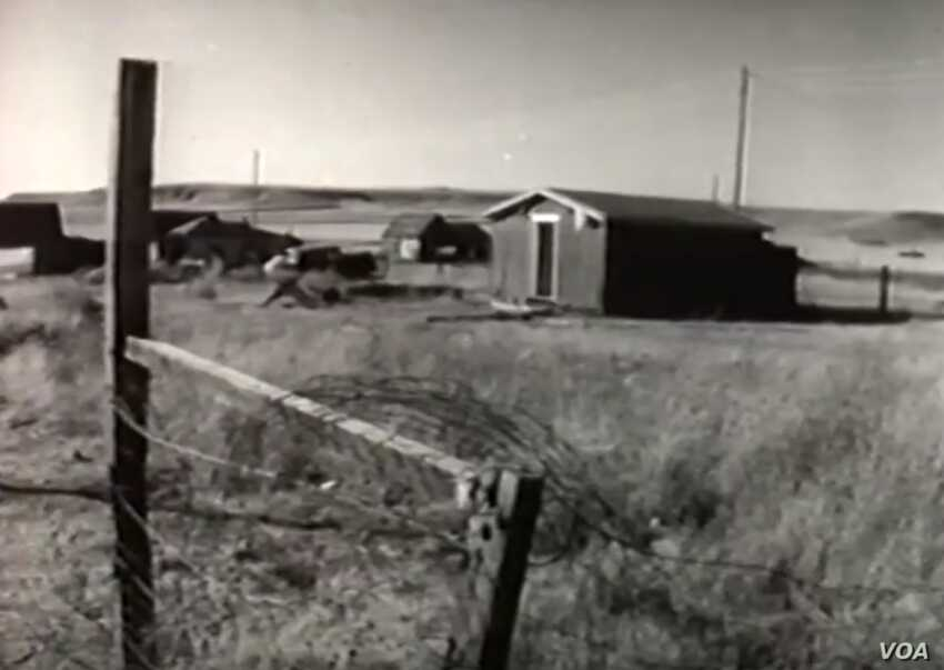 "This screenshot from the 1958 NBC documentary ""The American Stranger"" shows the impoverished community of landless Cree and Chippewa Indians known as Hill 57, outside Great Falls, Montana."