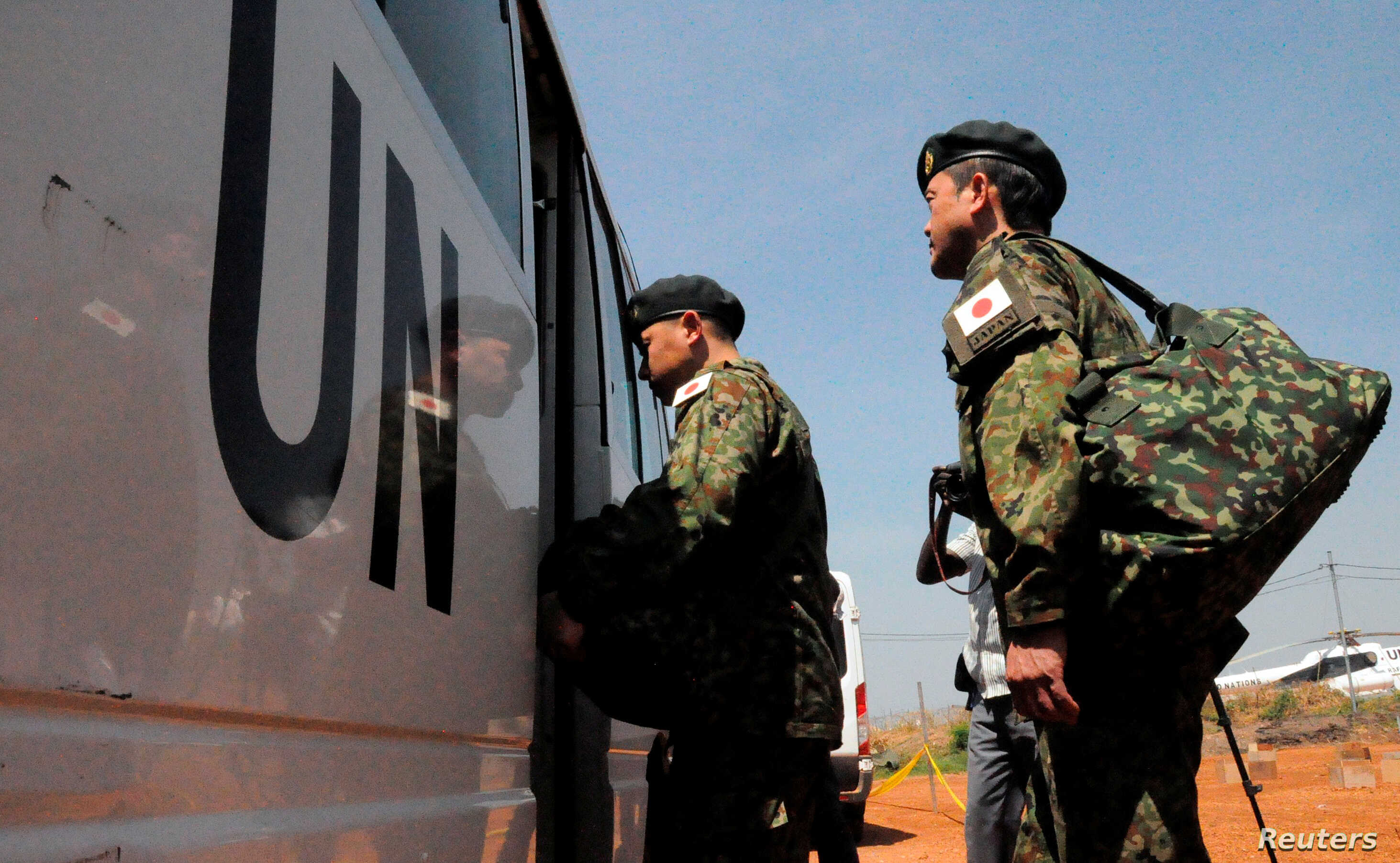 Japanese peacekeepers arrive at the Juba airport to participate in the United Nations Mission in South Sudan in South Sudan's capital Juba, Nov. 21, 2016.