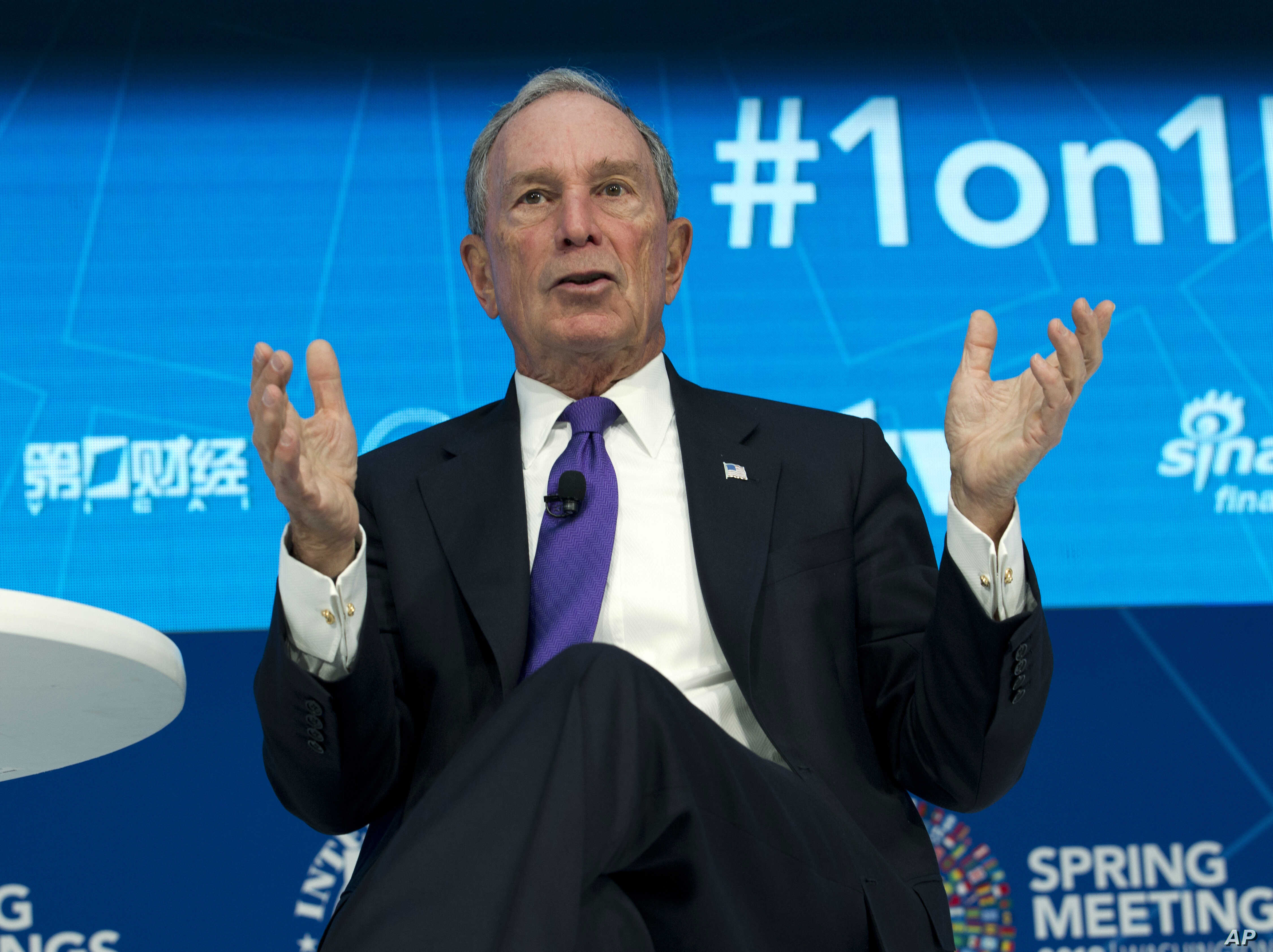 Former New York City Mayor and UN Special Envoy for Climate Action Michael Bloomberg speaks at World Bank/IMF Spring Meetings, in Washington, April 19, 2018.