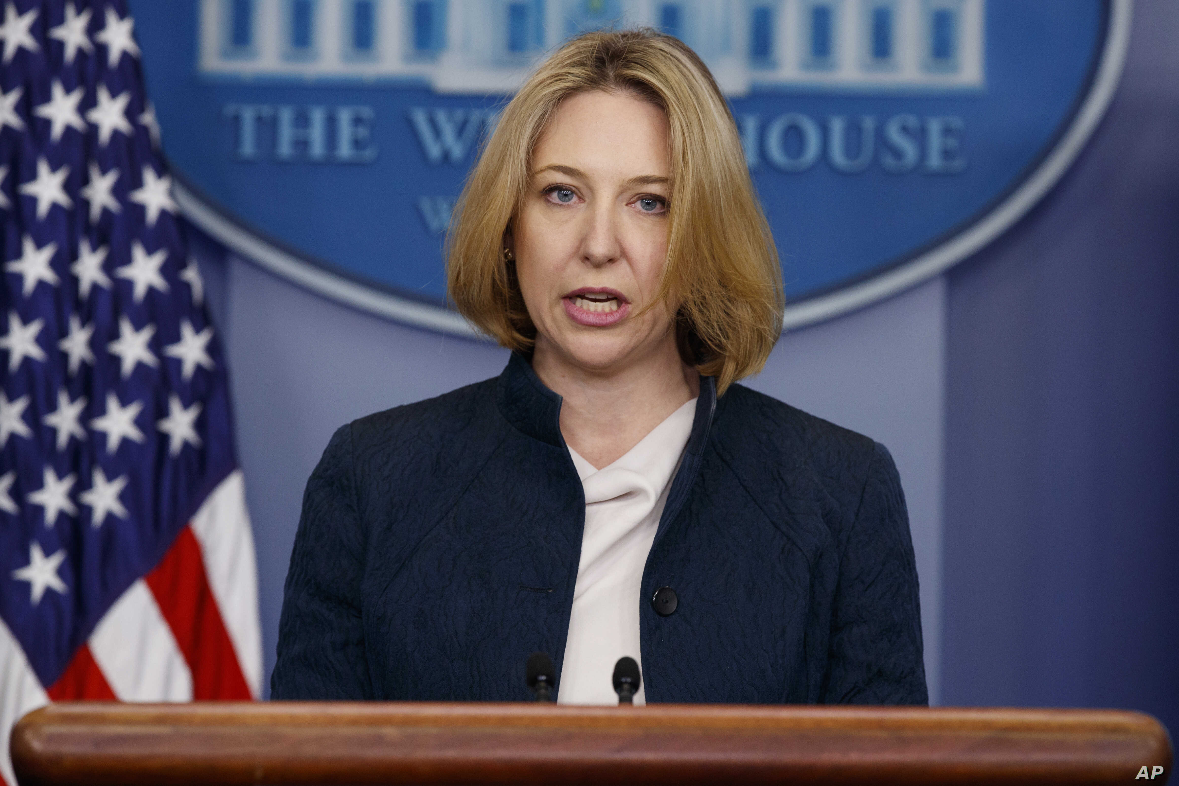 Assistant Secretary of Homeland Security for Cybersecurity and Communication Jeanette Manfra speaks during a briefing blaming North Korea for a ransomware attack, Dec. 19, 2017, in Washington.
