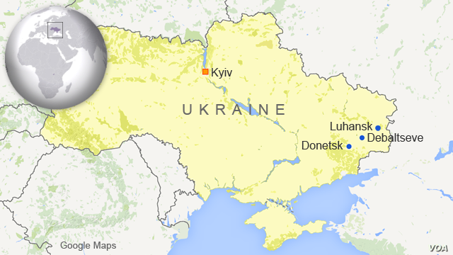Map of Ukraine showing Donetsk, Luhansk, and Debaltseve