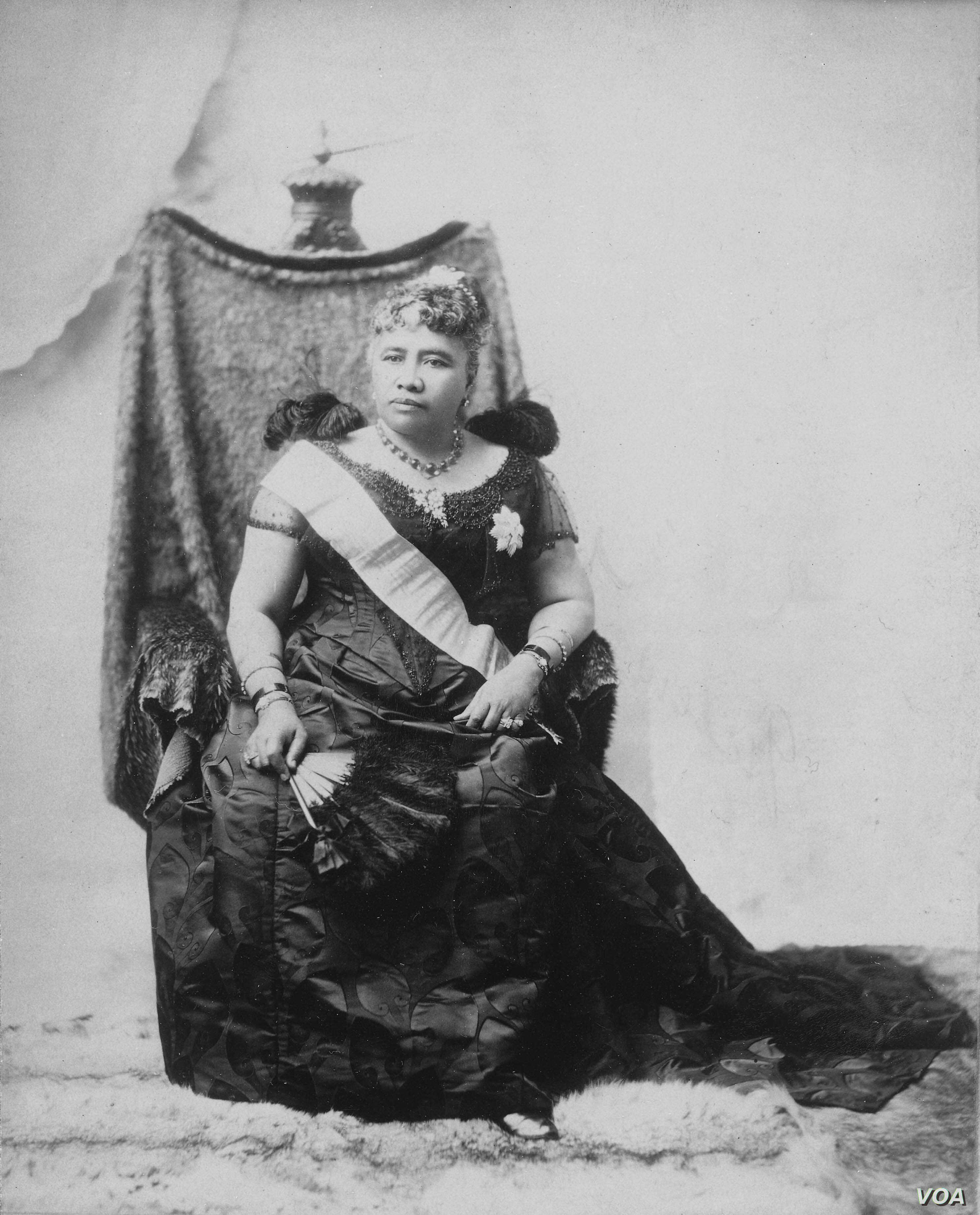 Hawaii's Queen Liliuokalani, who was removed from the throne in a coup with American support.  Photographed around 1891 by James J. Williams