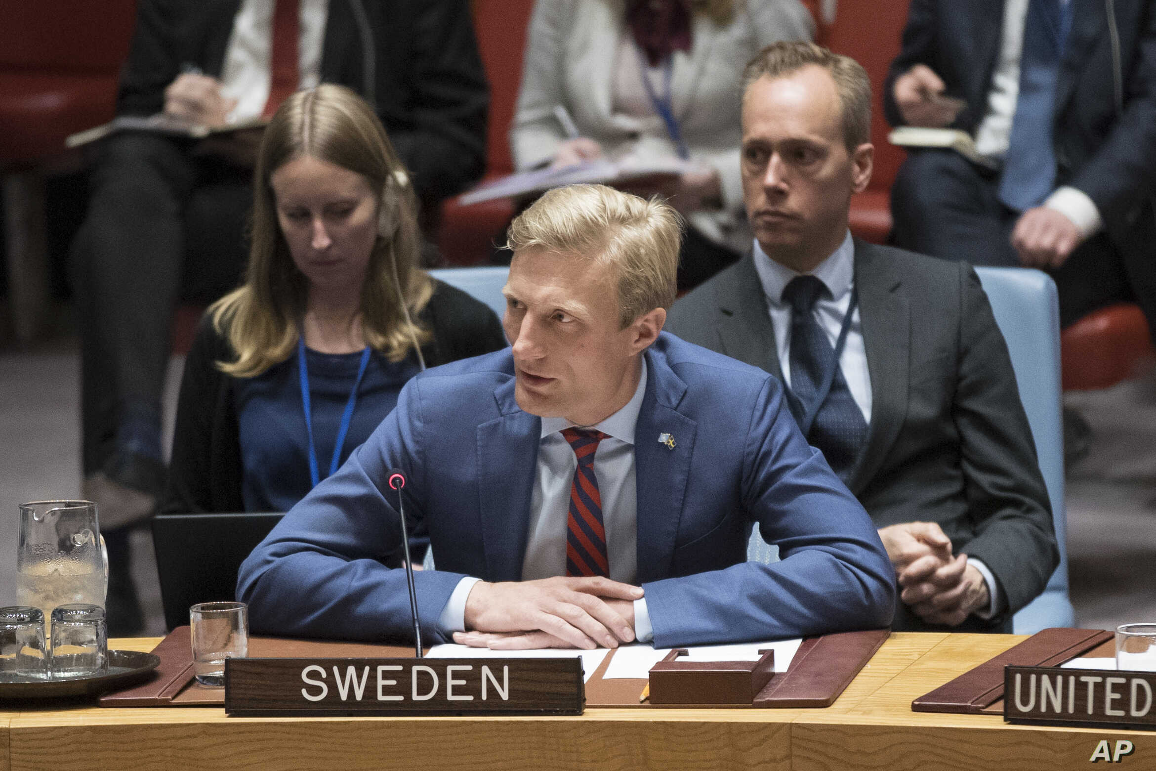 Swedish Ambassador Carl Skau speaks during an emergency Security Council meeting on the situation in Gaza, March 30, 2018, at United Nations headquarters.