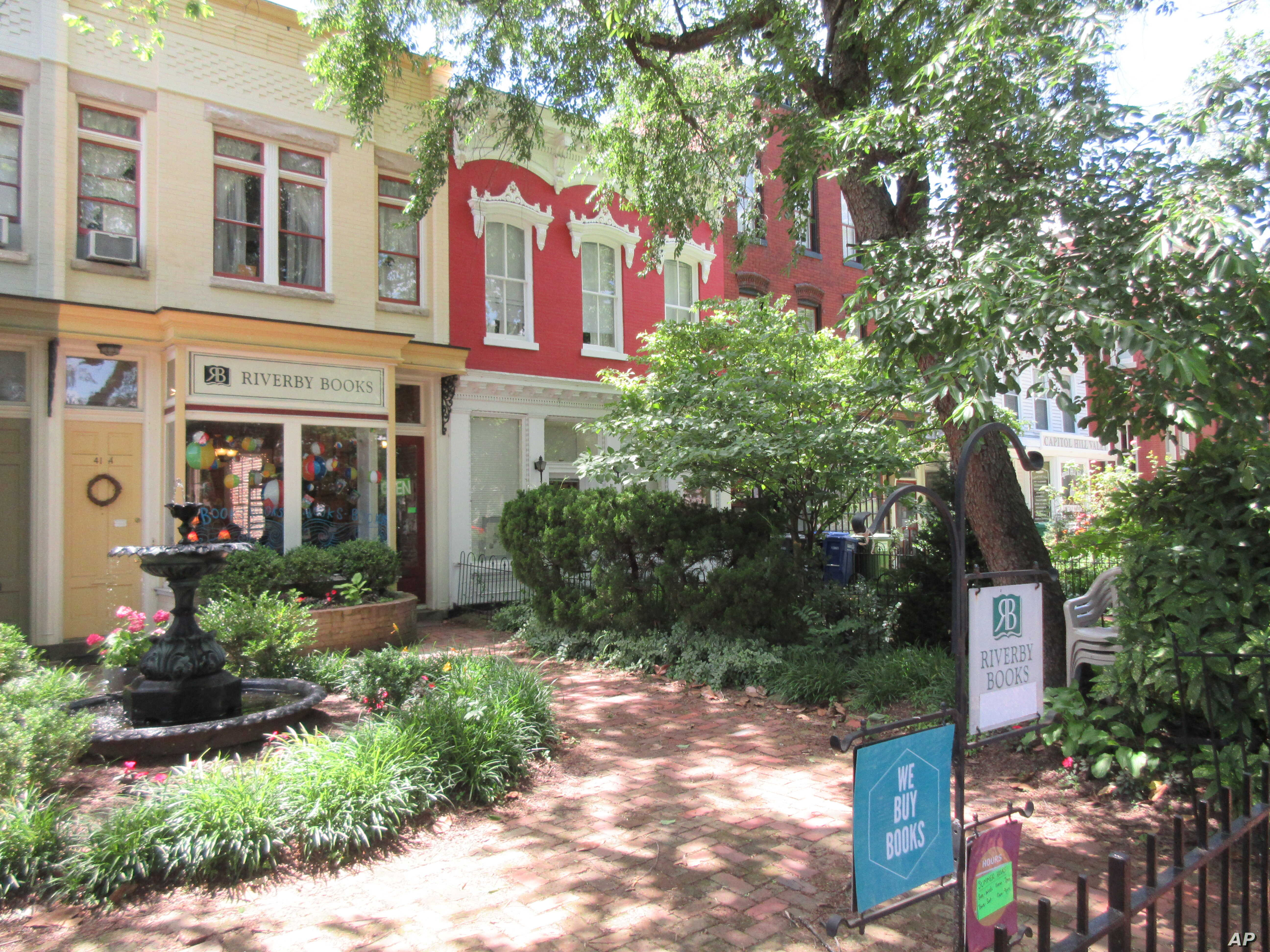 FILE - This June 8, 2016 photo shows Riverby Books, a small independent bookstore located in the Capitol Hill neighborhood of Washington D.C.