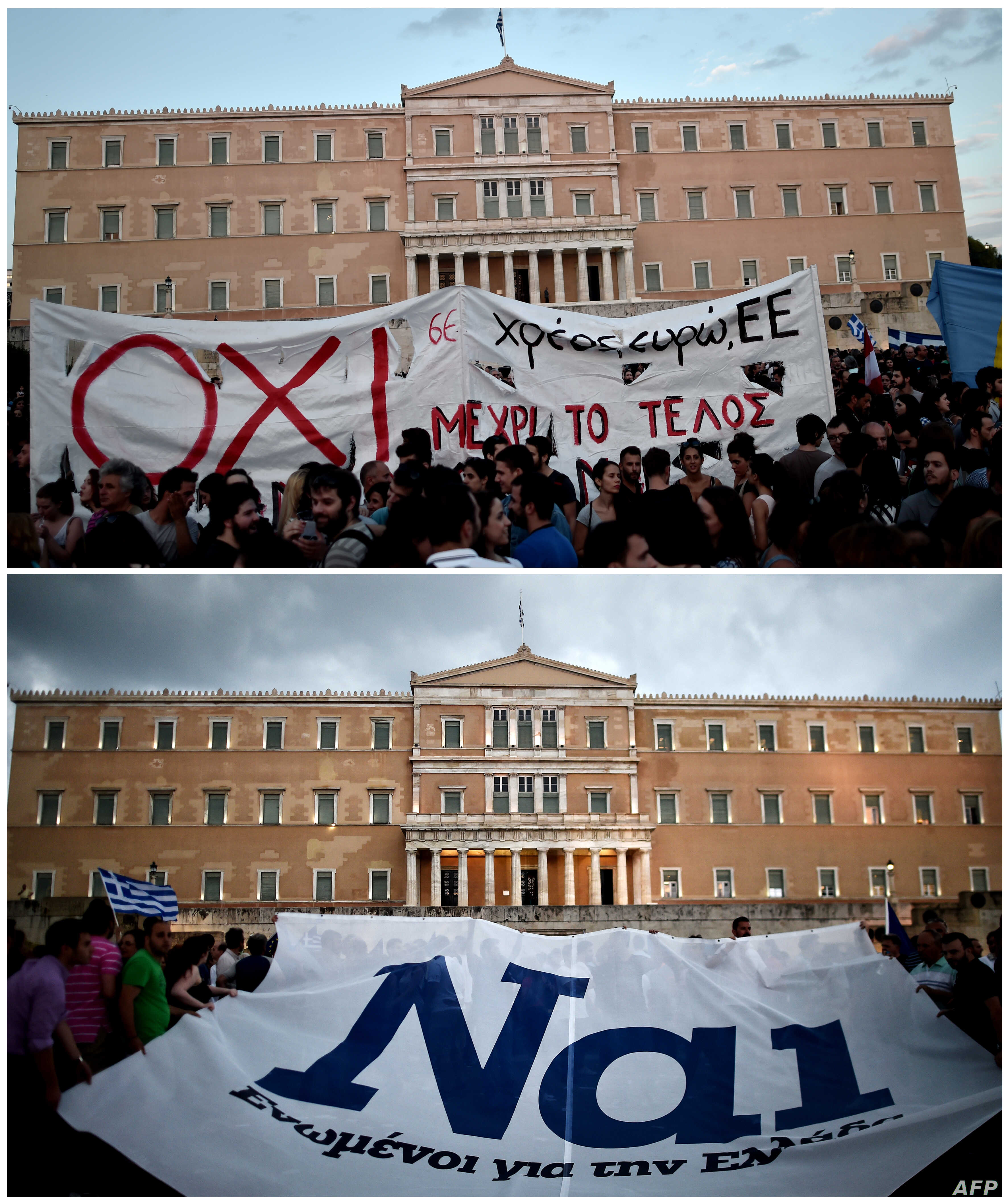 """Protestors displaying a banner bearing the ''NO'' slogan in reference to the upcoming referendum on bailout conditions, during a demonstration in front of the Greek parliament in Athens, June 29 and pro-euro protesters hold a banner reading ''YES"""" d..."""