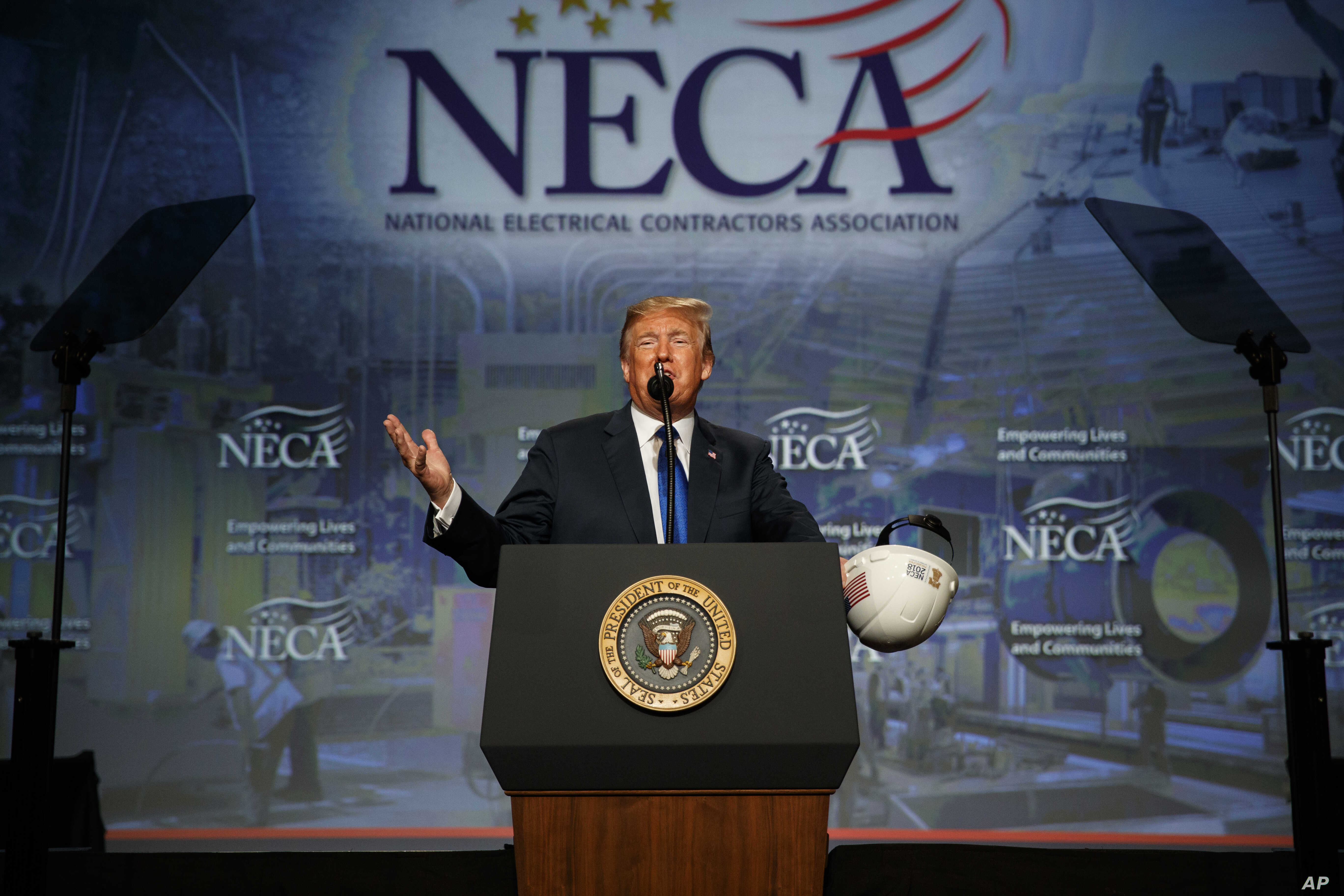 President Donald Trump speaks to the National Electrical Contractors Association Convention at the Pennsylvania Convention Center, Oct. 2, 2018, in Philadelphia.