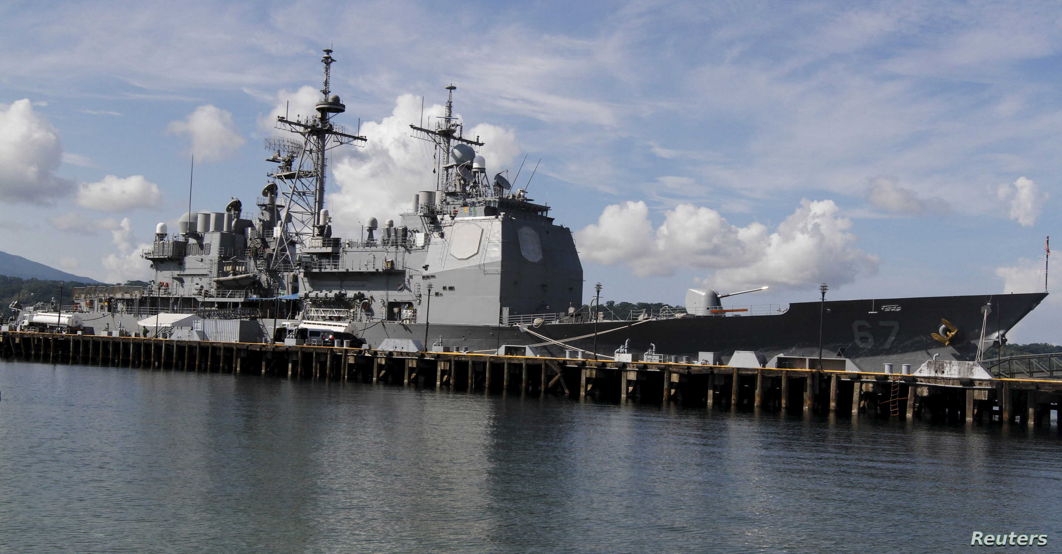 FILE - The USS Shiloh (CG-67) is docked at a port along Subic Bay, north of Manila, Philippines, May 30, 2015. USS Shiloh (CG-67) arrived in the country to replenish supplies and strengthen ties with the Philippines through outreach programs as part