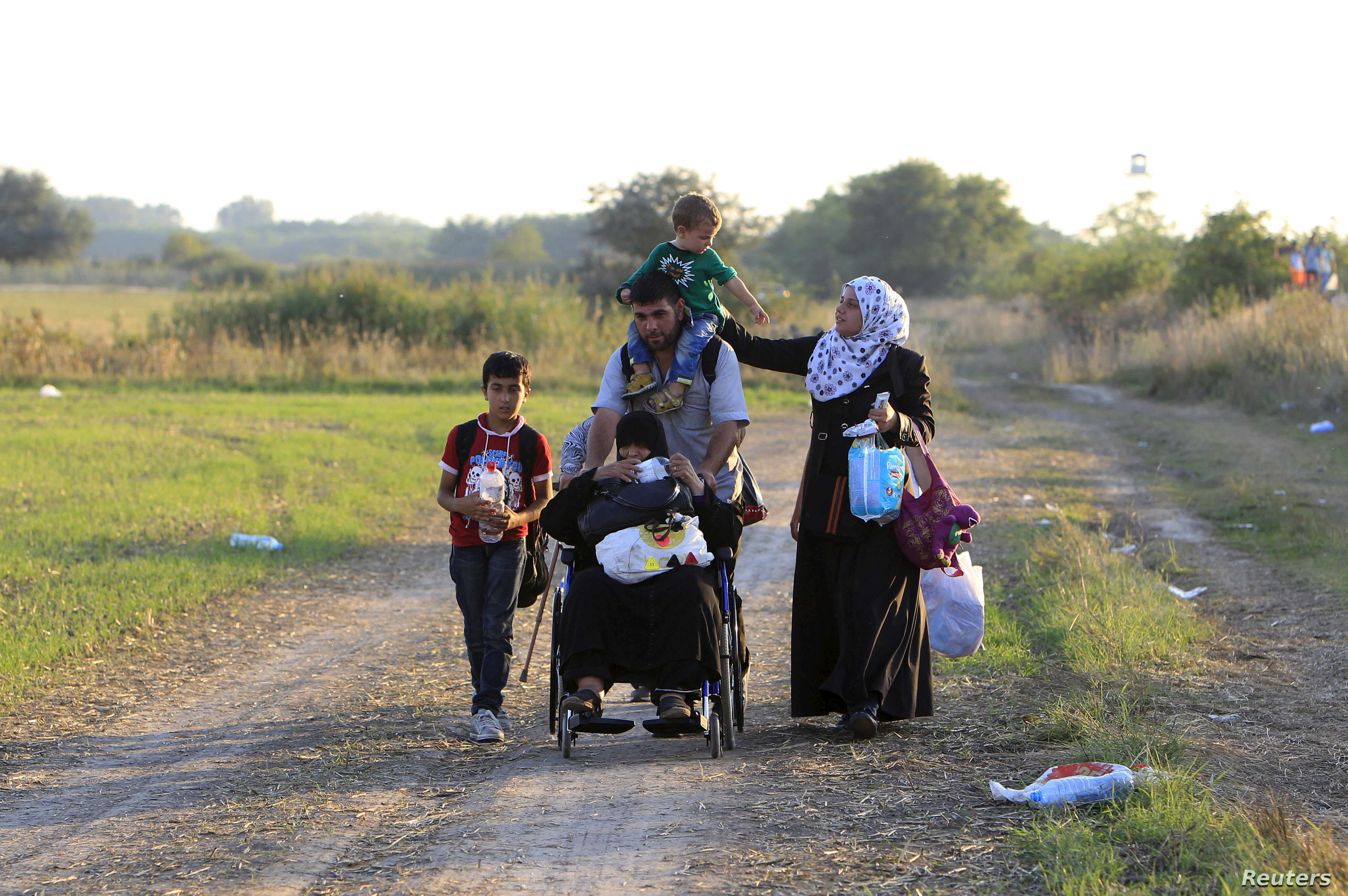 Syrian migrants travel along a road after crossing into Hungary from the border with Serbia near Roszke, Hungary, Aug. 29, 2015.