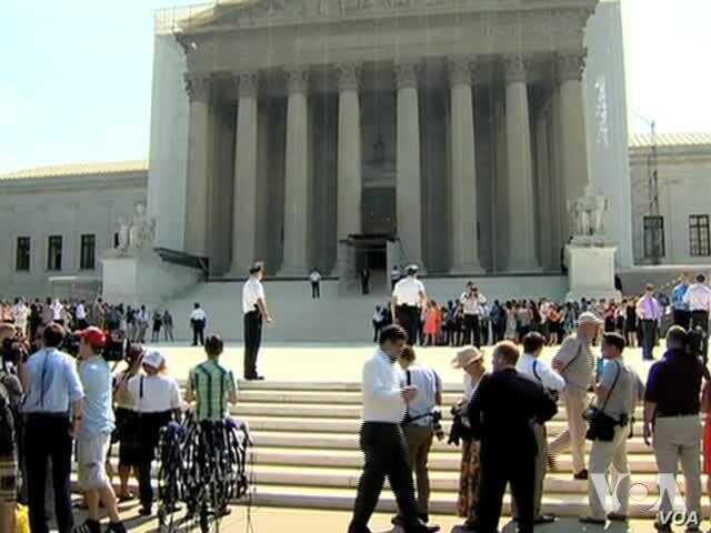 Corwd Outside US Supreme Court Reacts to Gay Marriage Decisions
