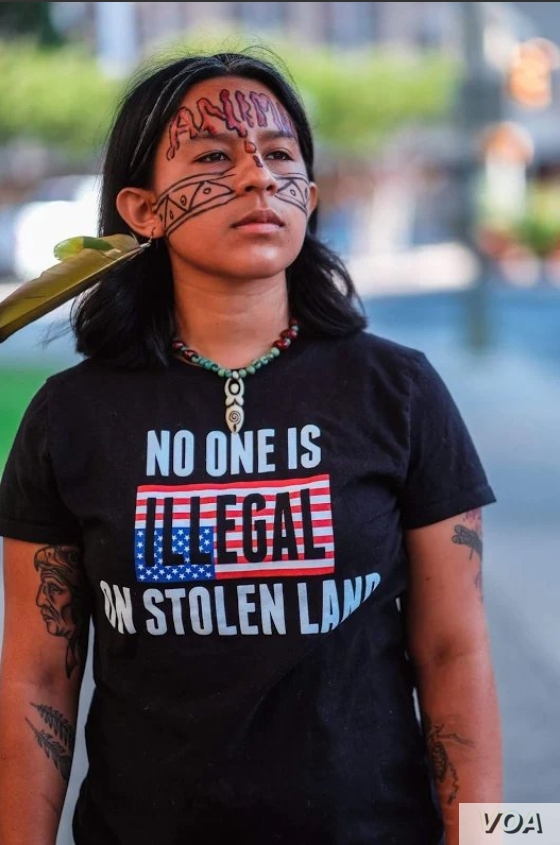Native Americans on social media are sharing immigration-themed meme pictures across the internet, protesting U.S. President Donald Trump's immigration policies.