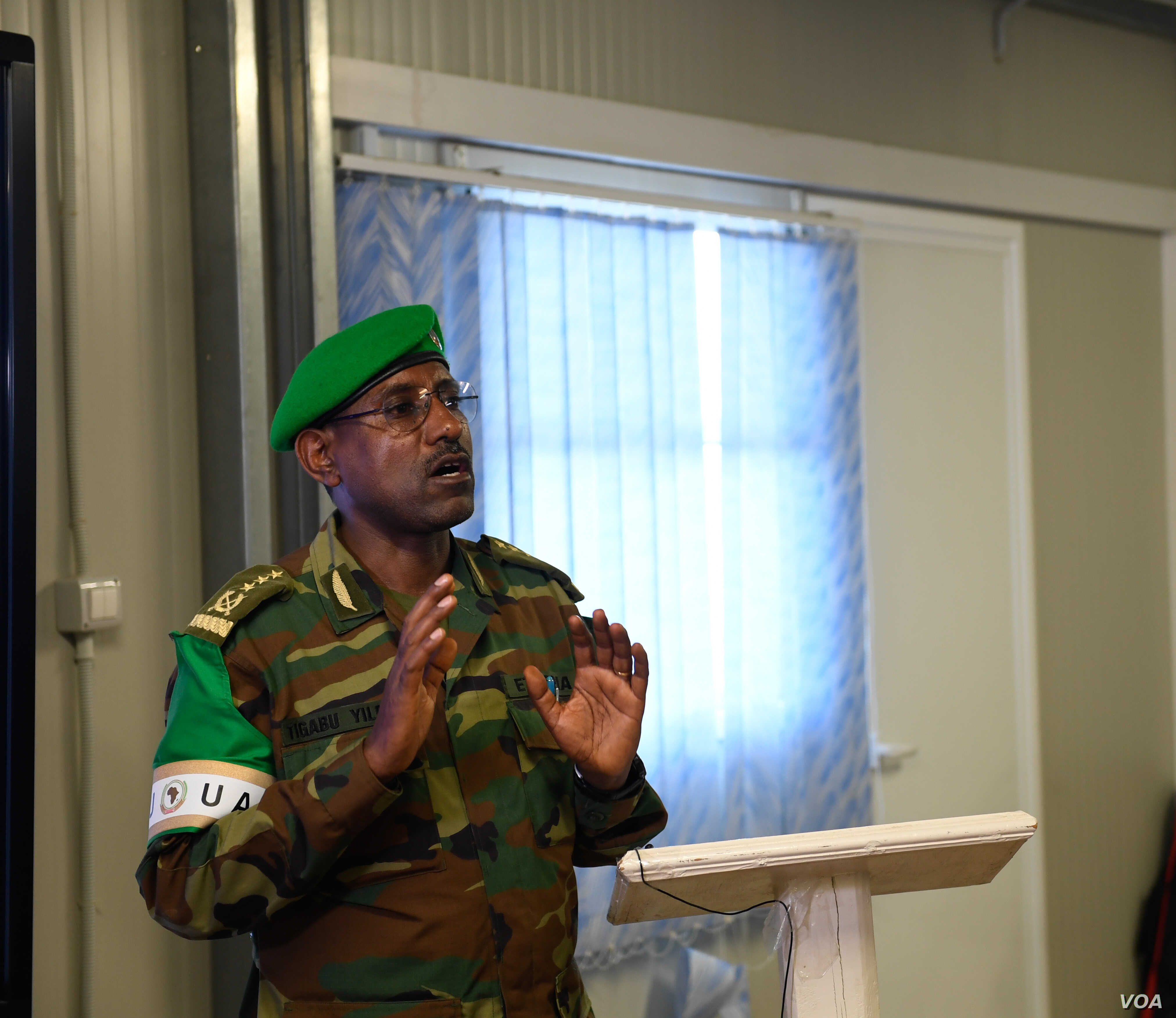 Lt. Gen. Tigabu Yilma Wondimhunegn, the force commander of the African Union Mission in Somalia (AMISOM), speaks at the closing session of the AMISOM Sector Commanders Conference, which discussed the new concept of operations in Mogadishu, Somalia, F...