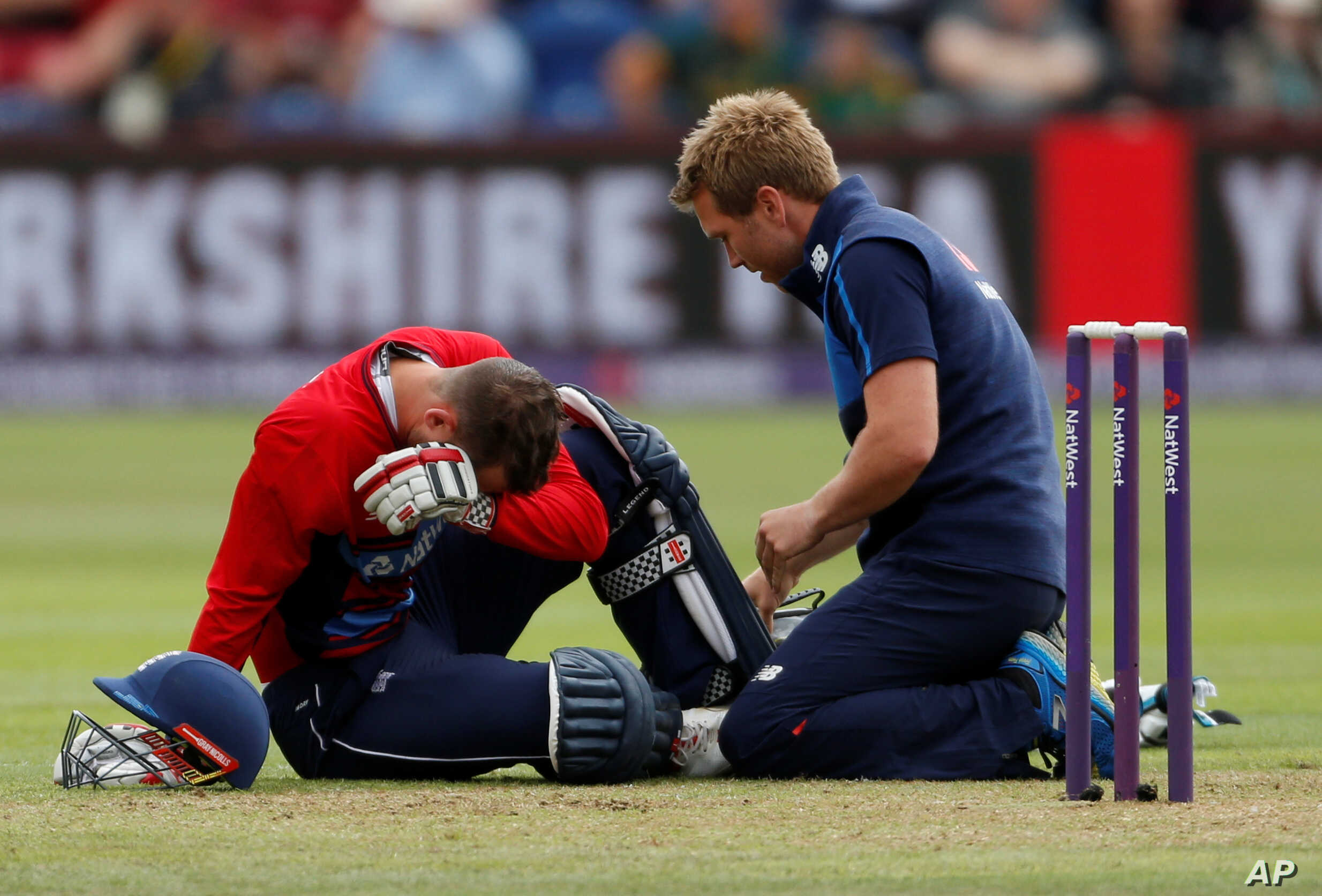 England's Alex Hales is tended to after sustaining an injury to his knee while playing South Africa in Cardiff, June 25, 2017.