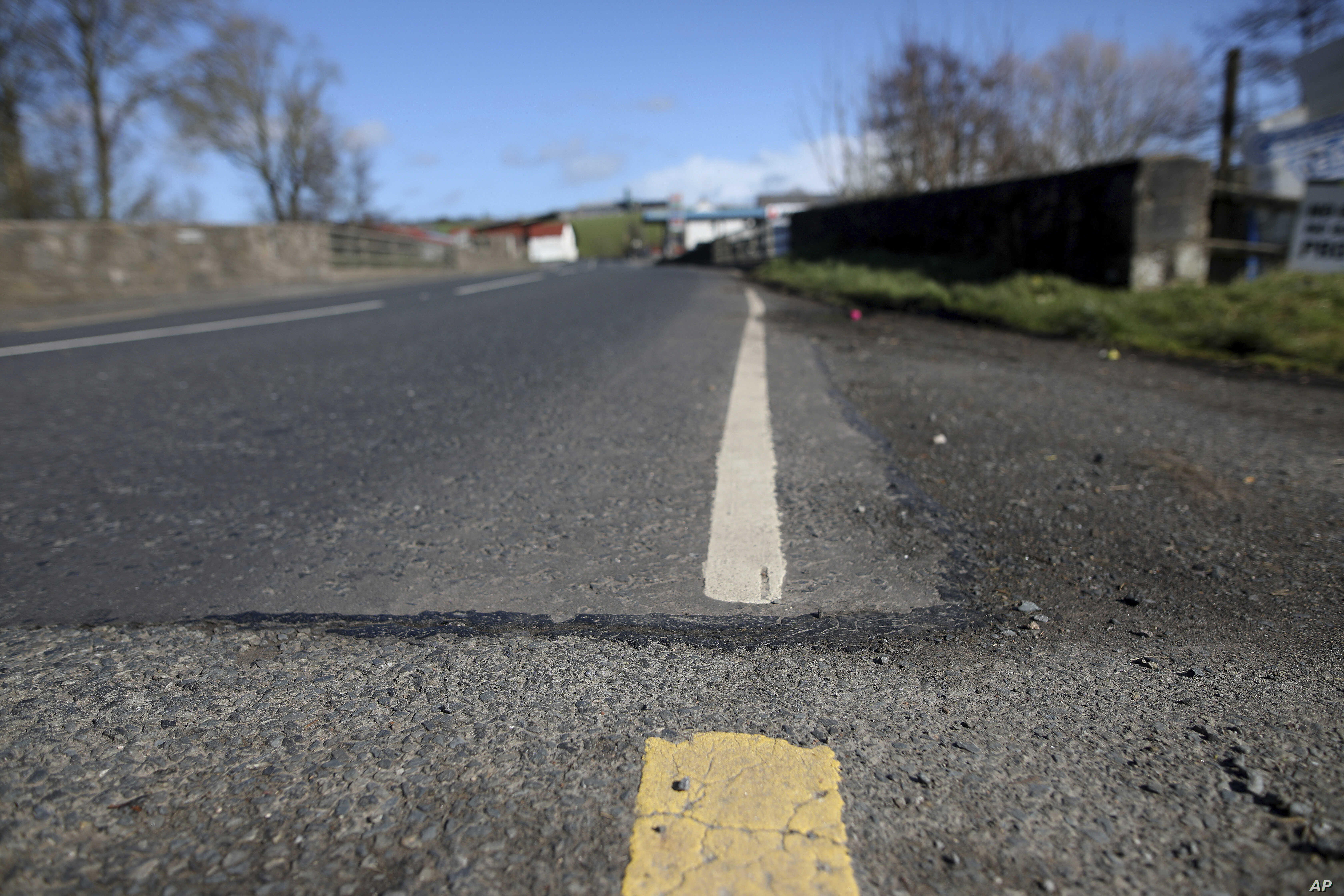 The Irish border, near the town of Middletown, Northern Ireland, March, 12, 2019. All that marks the border crossing is the change in paint and a cut in the tarmac, with white paint being in Northern Ireland and yellow paint used in the Republic of I...