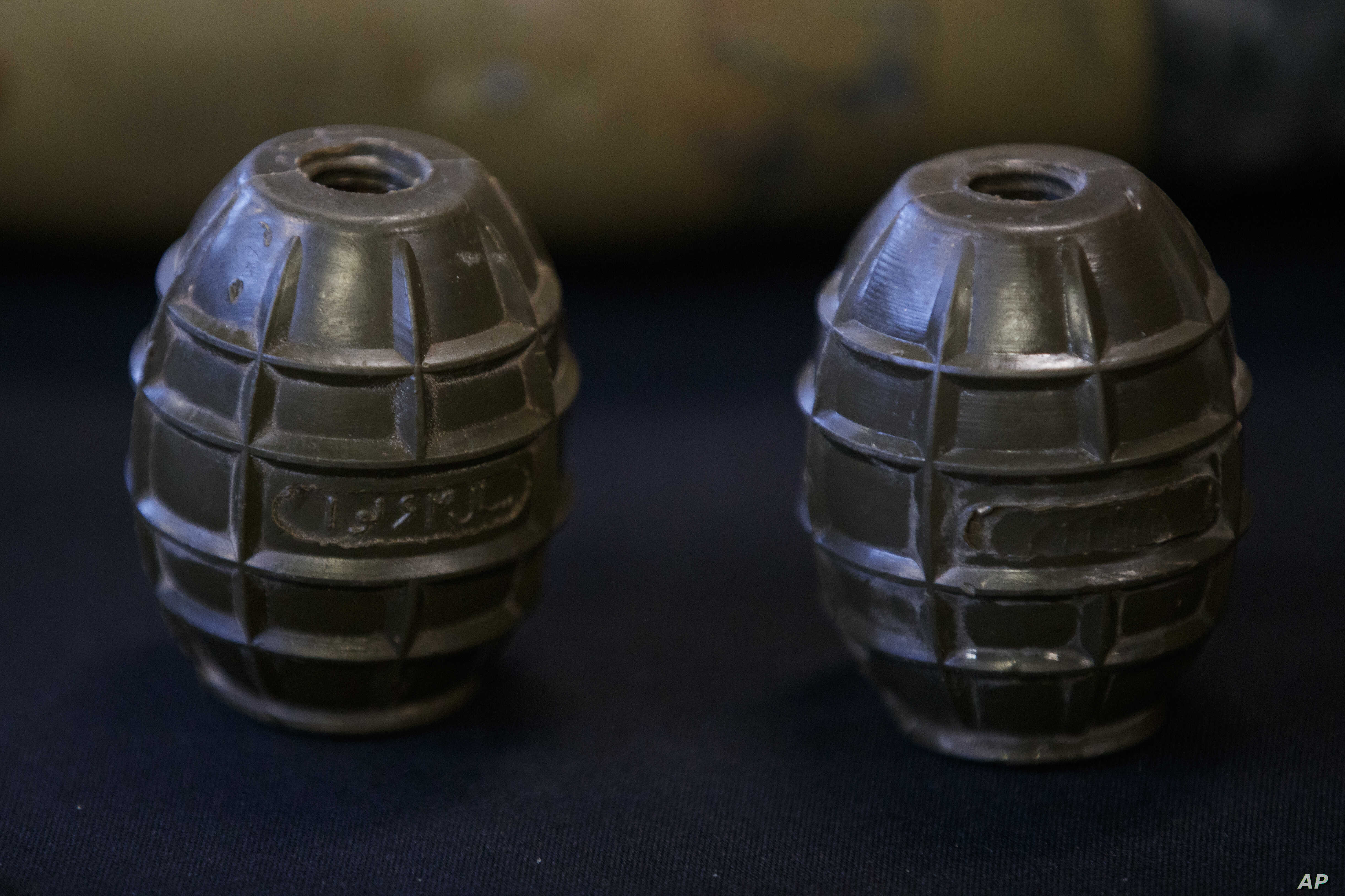 Hand grenades are on display at the Iranian Materiel Display (IMD) at Joint Base Anacostia-Bolling, in Washington, Nov. 29, 2018. The Trump administration accused Iran of stepping up violations of a U.N. ban on arms exports by sending rockets and ot...