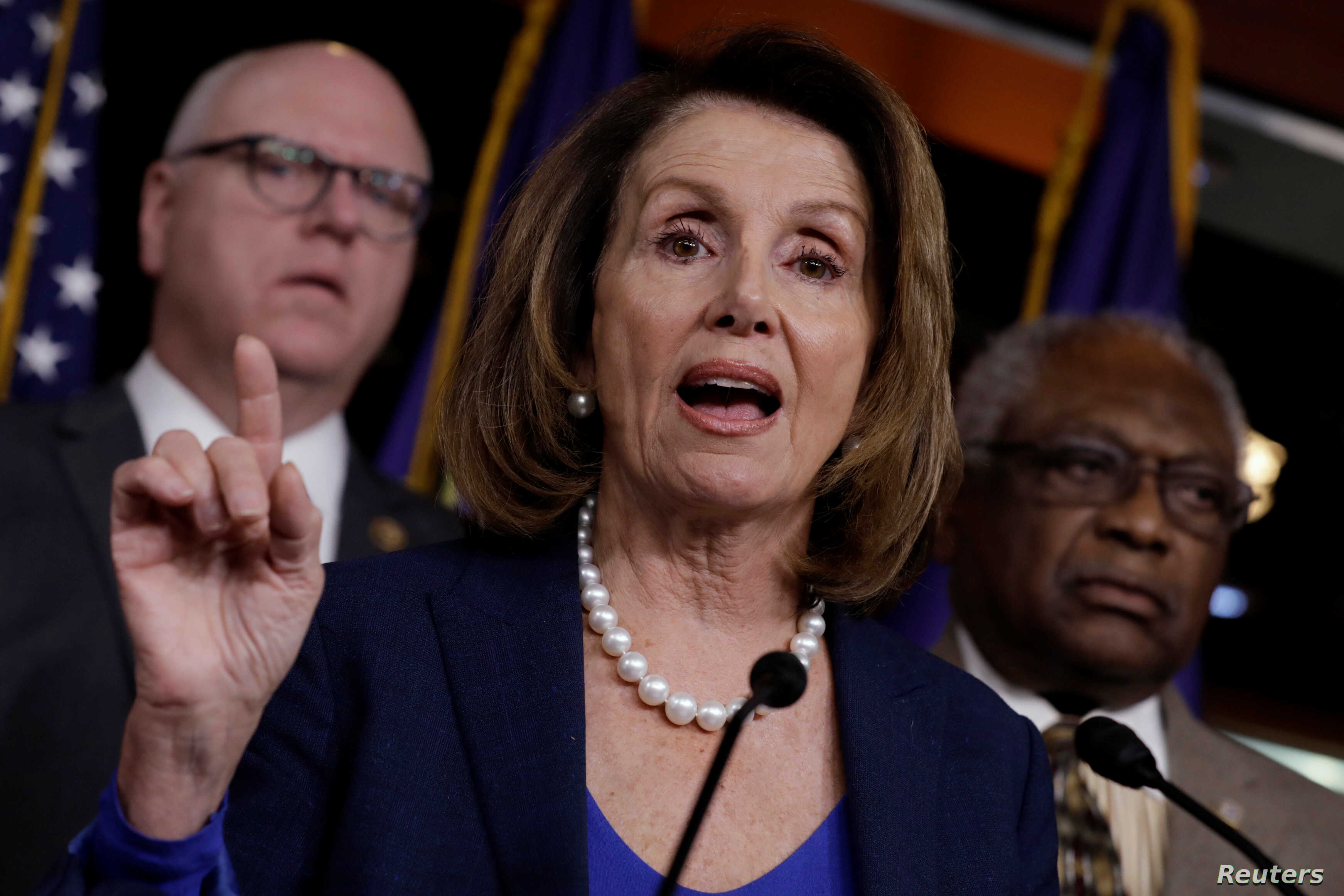 FILE - House Minority Leader Nancy Pelosi (D-CA) speaks during a news conference with Democratic leaders on Capitol Hill.