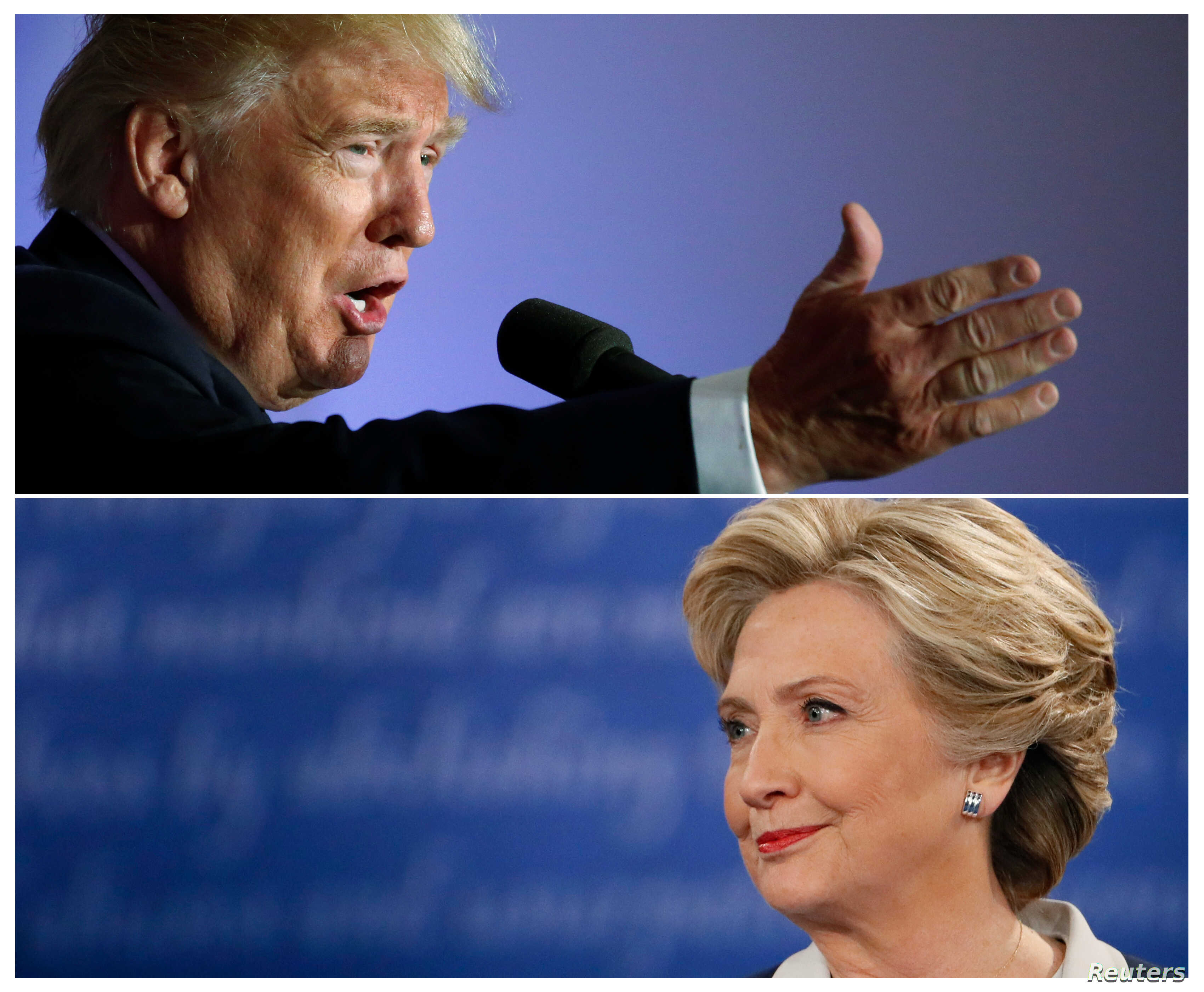 U.S. presidential candidate Donald Trump (top) speaks at a campaign event, in Washington, D.C., Oct. 26 2016 and Hillary Clinton listens during their town hall debate  in St. Louis, Missouri, Oct. 9, 2016, in a combination of file photos.