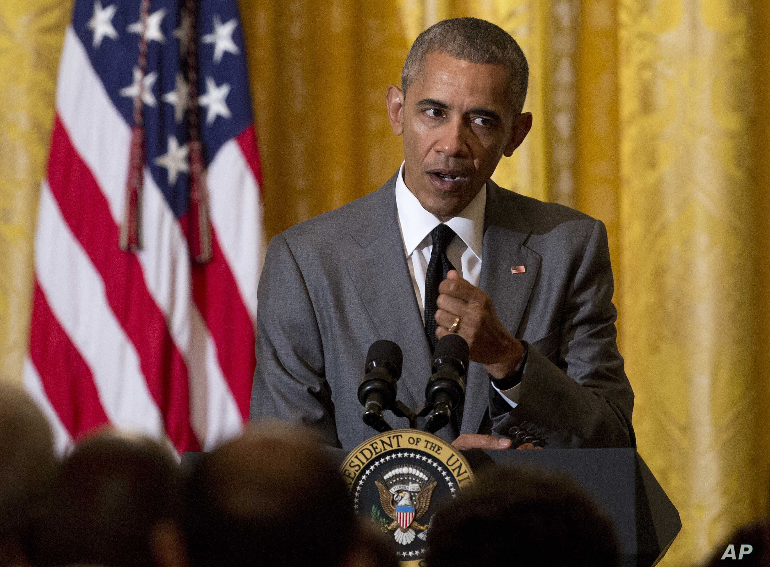 President Barack Obama speaks about the attack in Nice, France, during a reception for Washington diplomats at the White House, July 15, 2016.