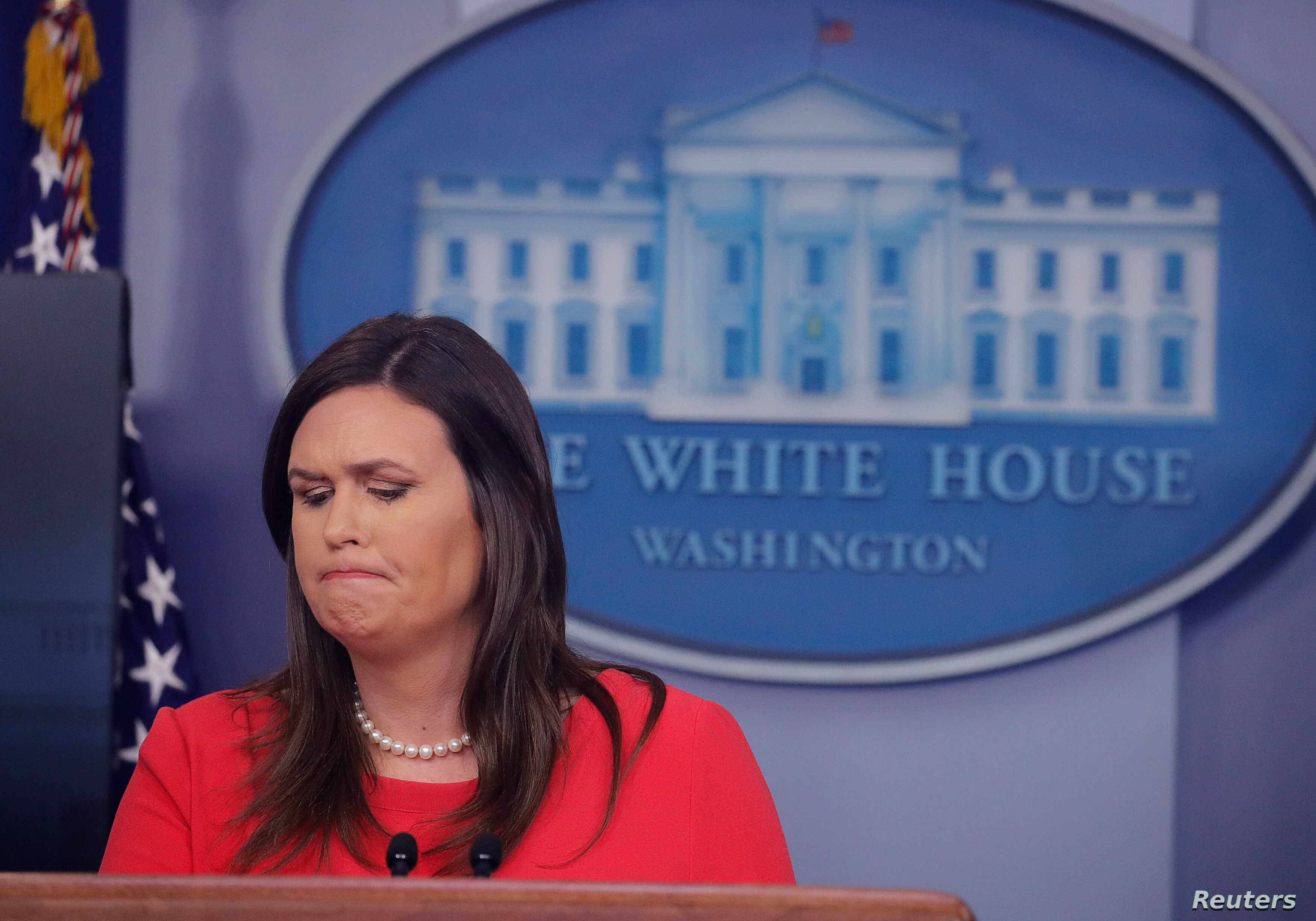 White House Press Secretary Sarah Sanders addresses reporters during a press briefing at the White House in Washington, Jan. 28, 2019.