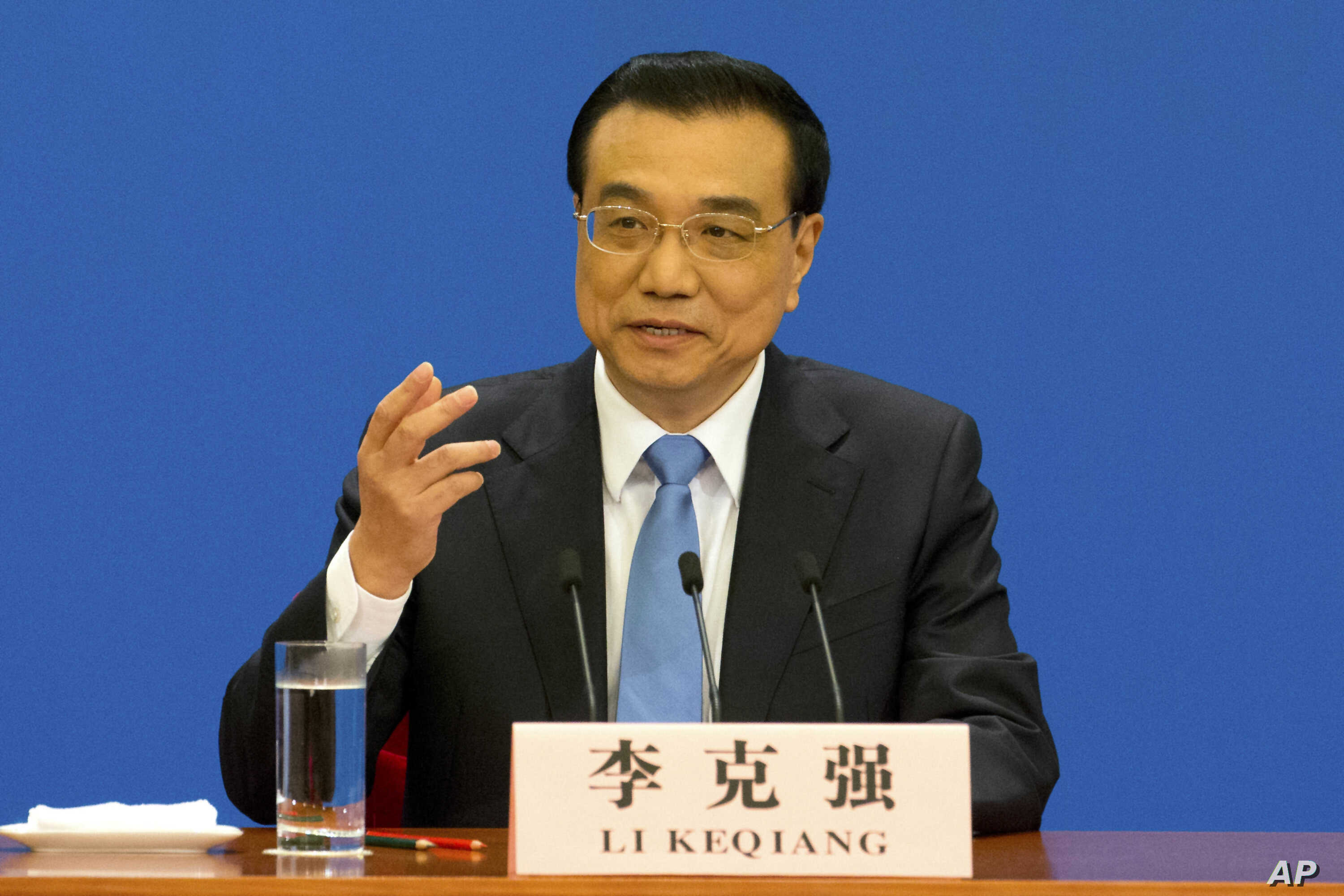 Chinese Premier Li Keqiang speaks during a press conference held at the conclusion of the annual meeting of China's National People's Congress at the Great Hall of the People in Beijing, March 15, 2017.