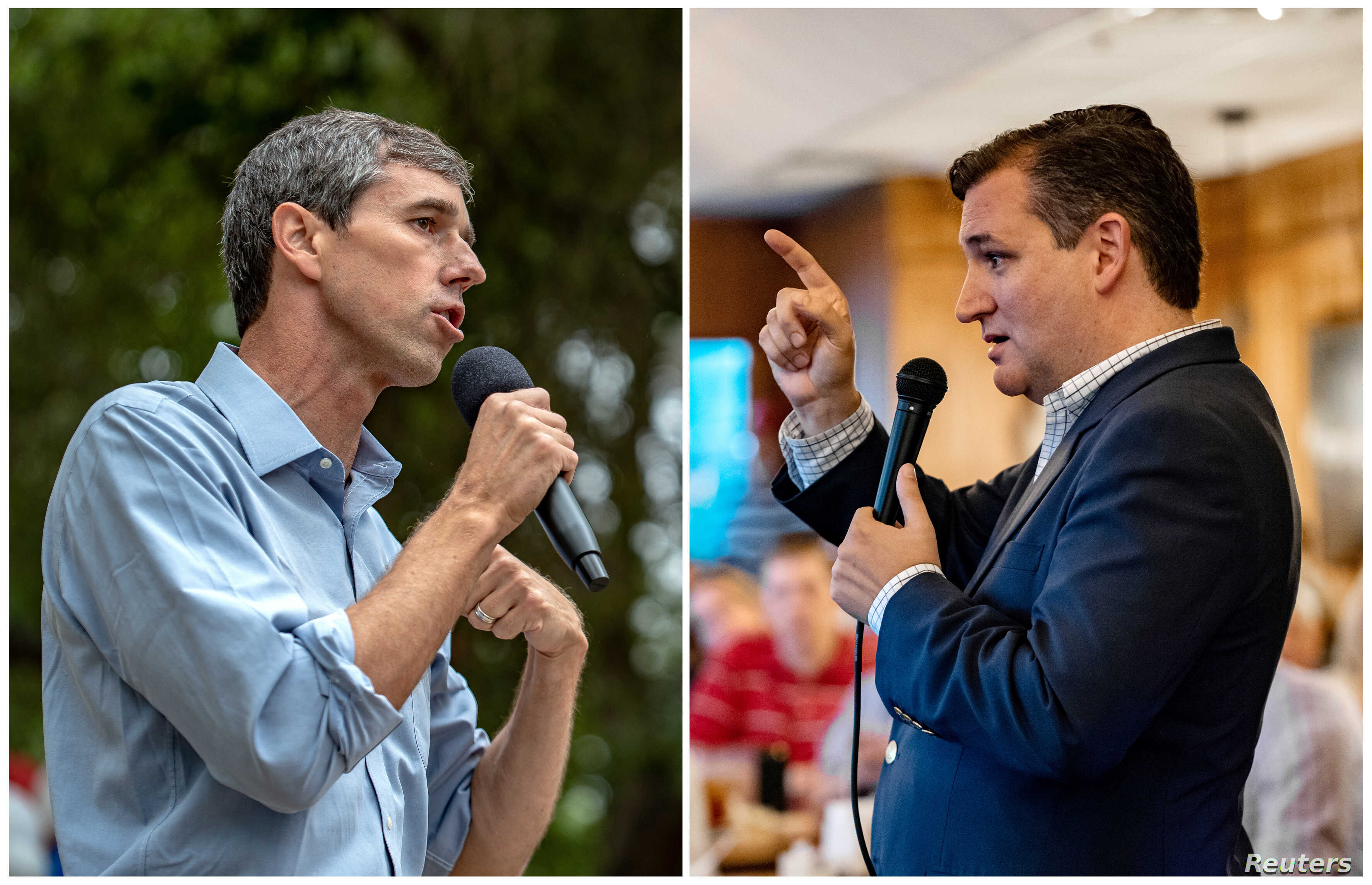 FILE - A combination photo shows U.S. Rep. Beto O'Rourke, left, and U.S. Senator Ted Cruz, right, speaking to supporters in Del Rio, Texas, Sept. 22, 2018 and in Columbus, Texas, Sept. 15, 2018 respectively.