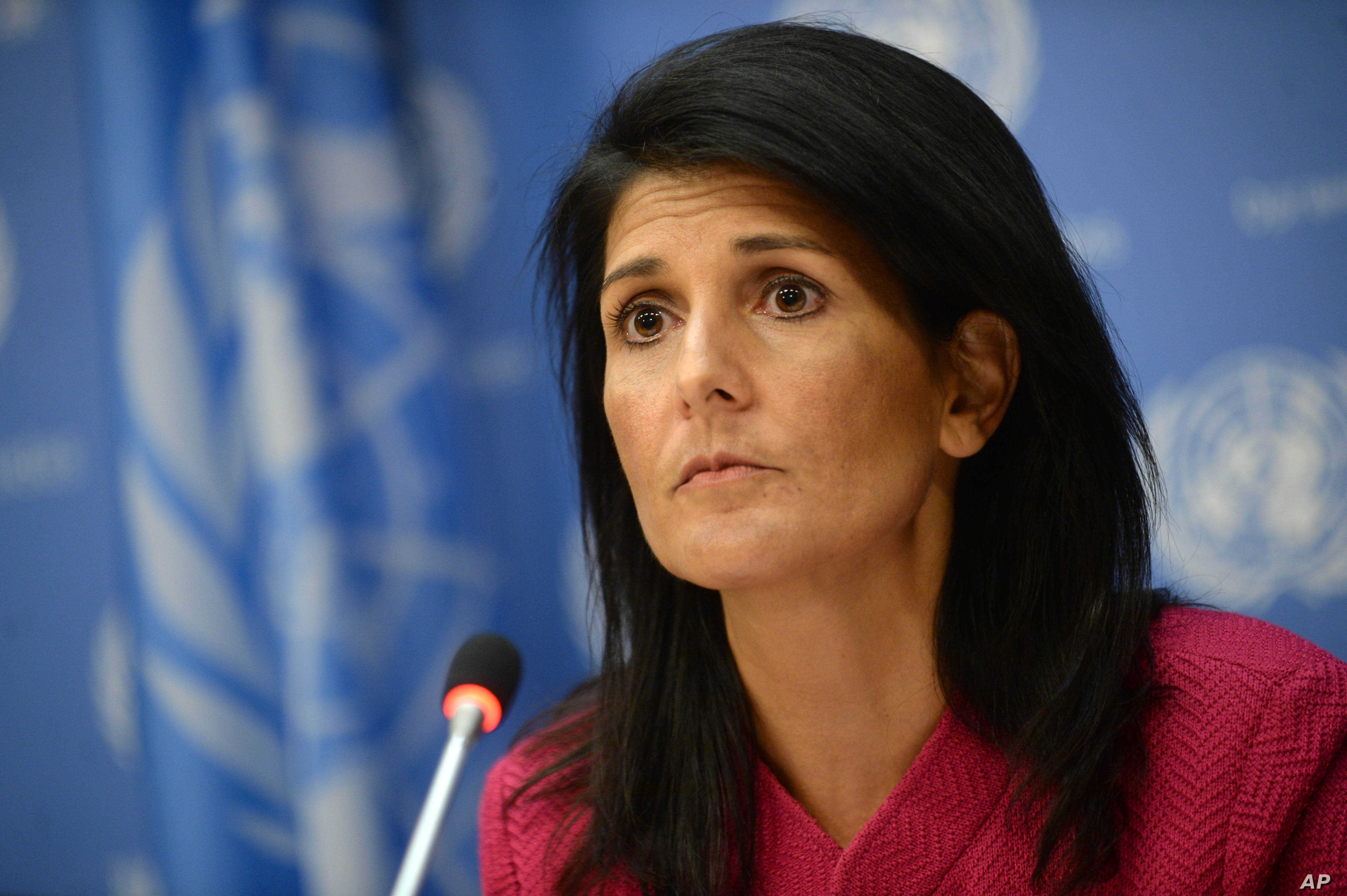 """U.S. Ambassador Nikki Haley said the Trump administration wants """"proof"""" from Sudan's government that it is making progress toward peace and protecting civilians in its vast and troubled Darfur region. Haley addressed the U.N. Security Council, April"""