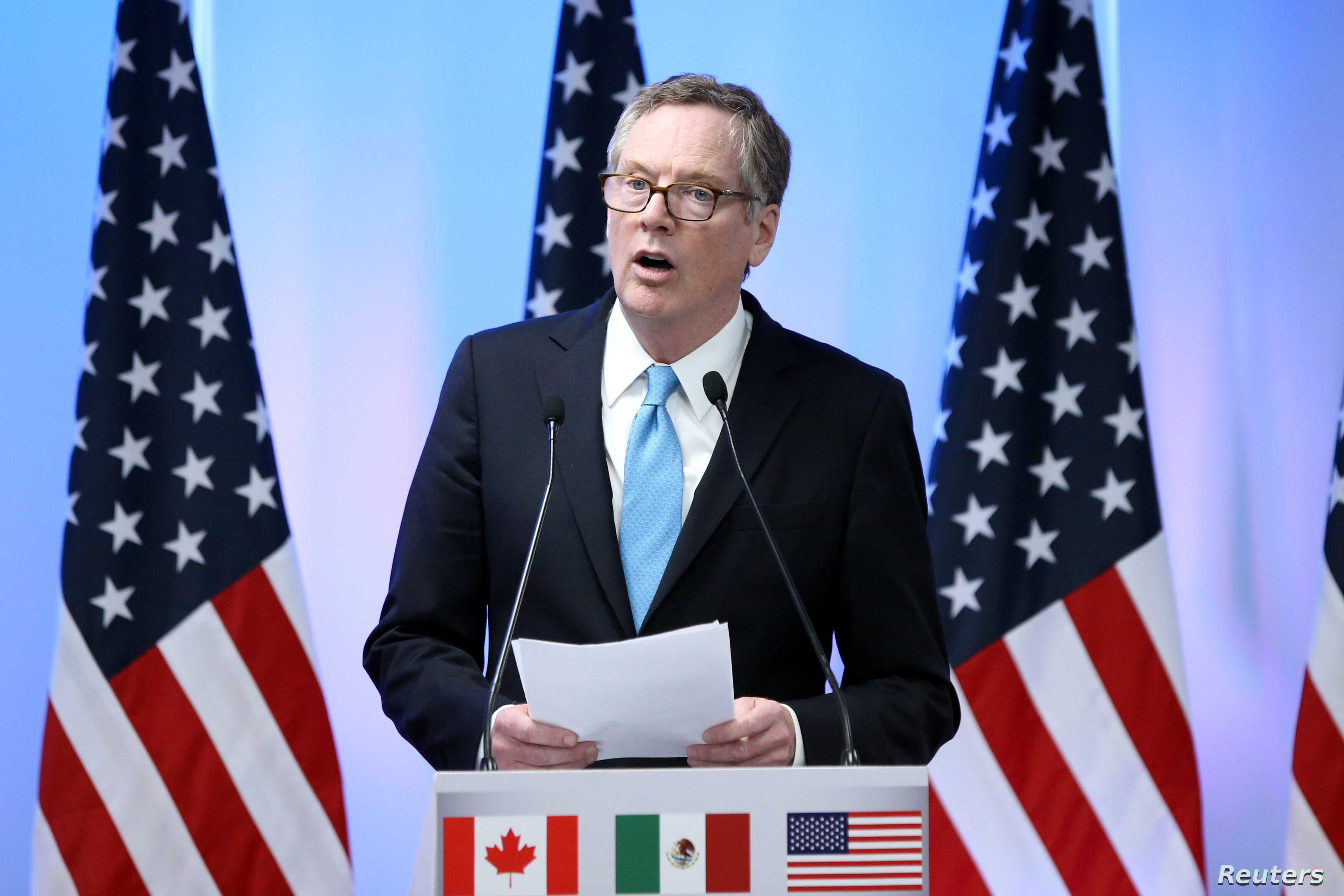 U.S. Trade Representative Robert Lighthizer addresses the media to close the second round of NAFTA talks involving the United States, Mexico and Canada in Mexico City, Mexico, Sept. 5, 2017.