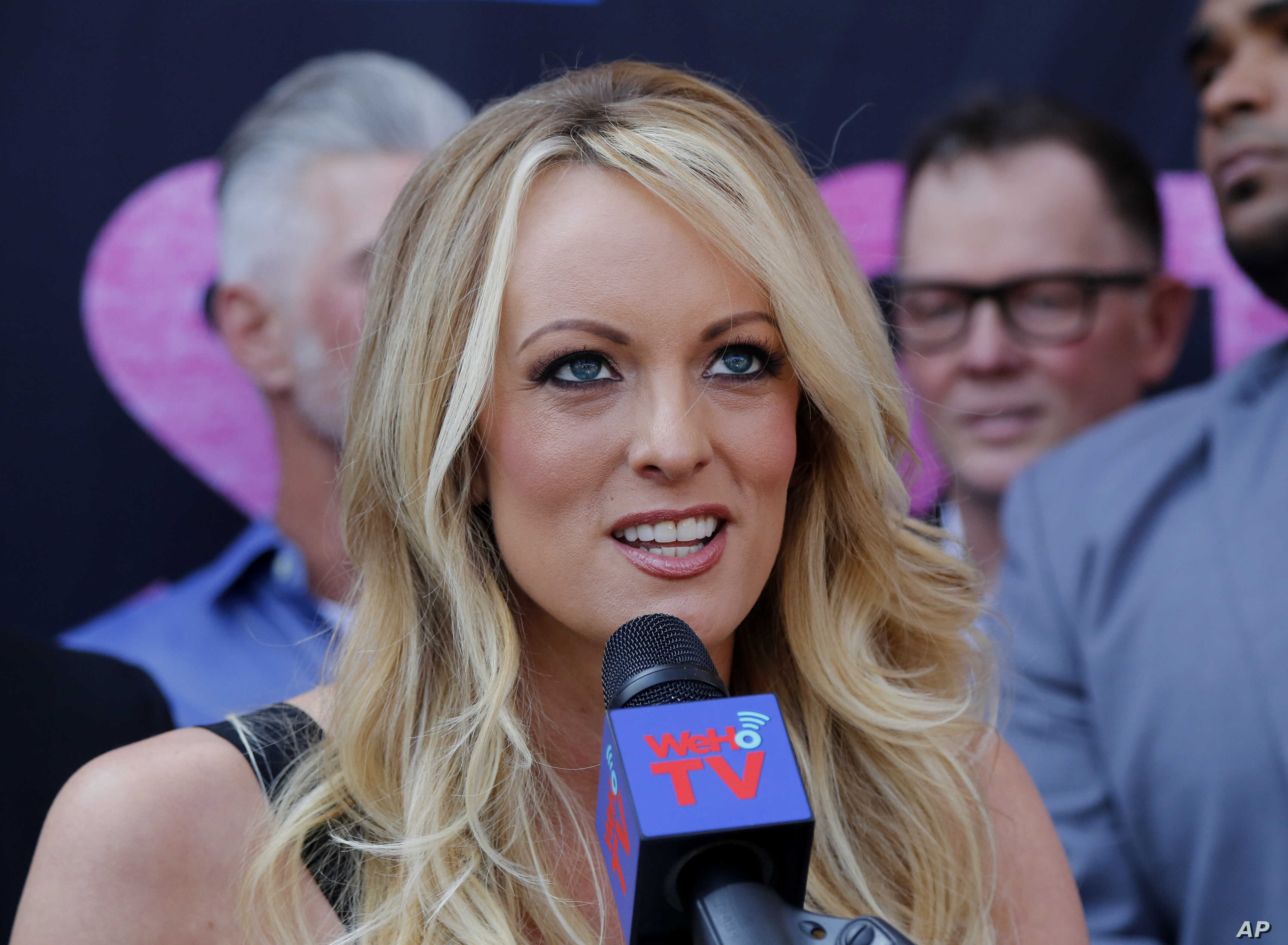 Stormy Daniels speaks during a ceremony for her in West Hollywood, Calif., May 23, 2018.