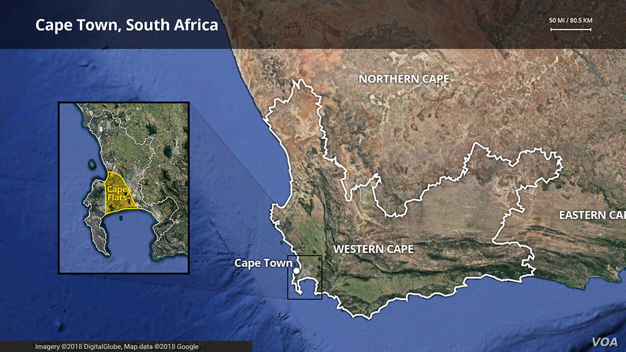 Authorities say some 130 gangs operate in South Africa's Western Cape province. They're especially active on the edges of Cape Town, which is highlighted.