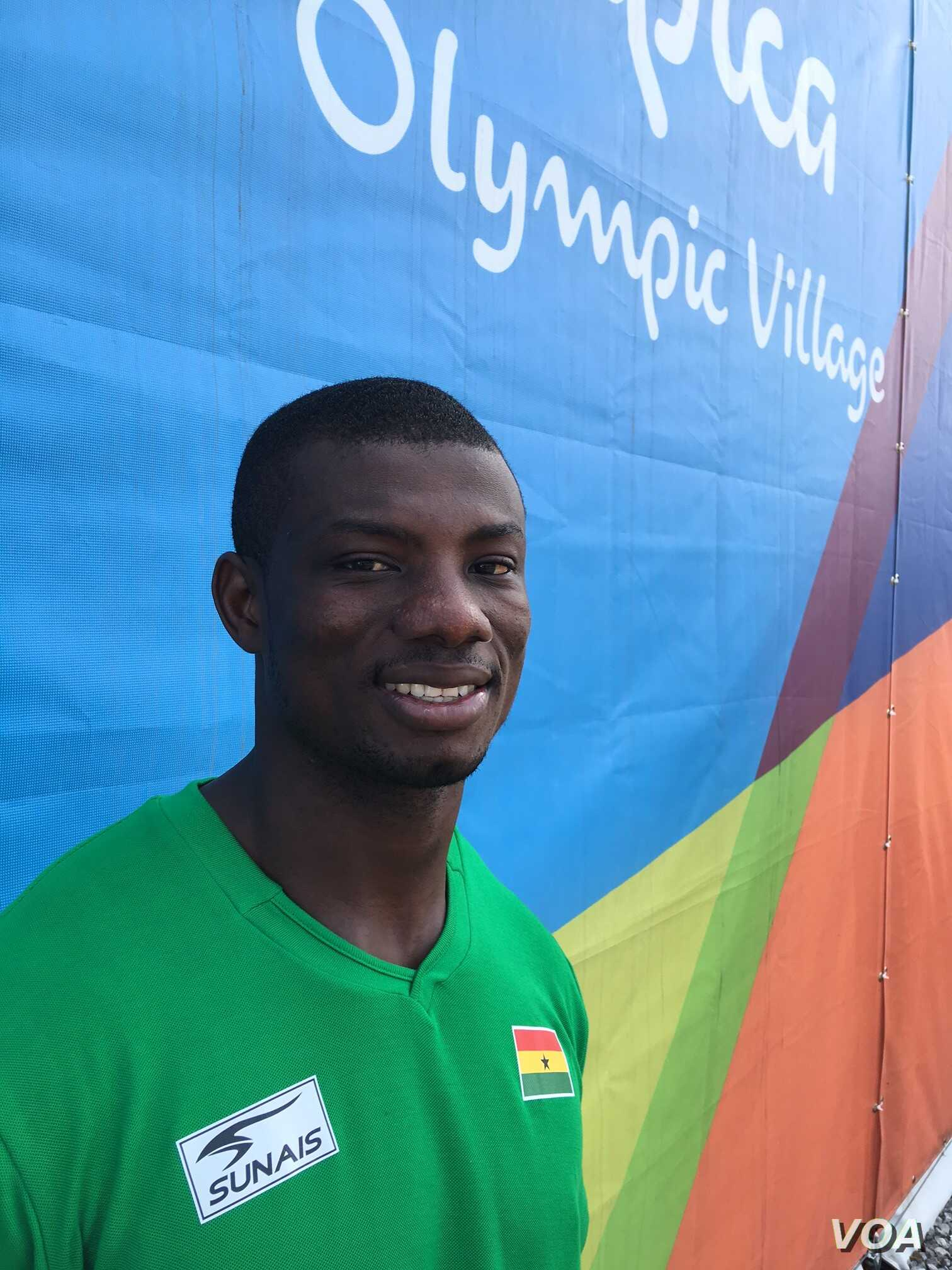 John Ampomah, 26, a senior at Middle Tennessee State, was the silver medalist in the javelin at last year's All Africa Games with a throw of 82.96 meters. Now, he'll compete for Ghana in Rio on Wednesday night. (P. Brewer/VOA)