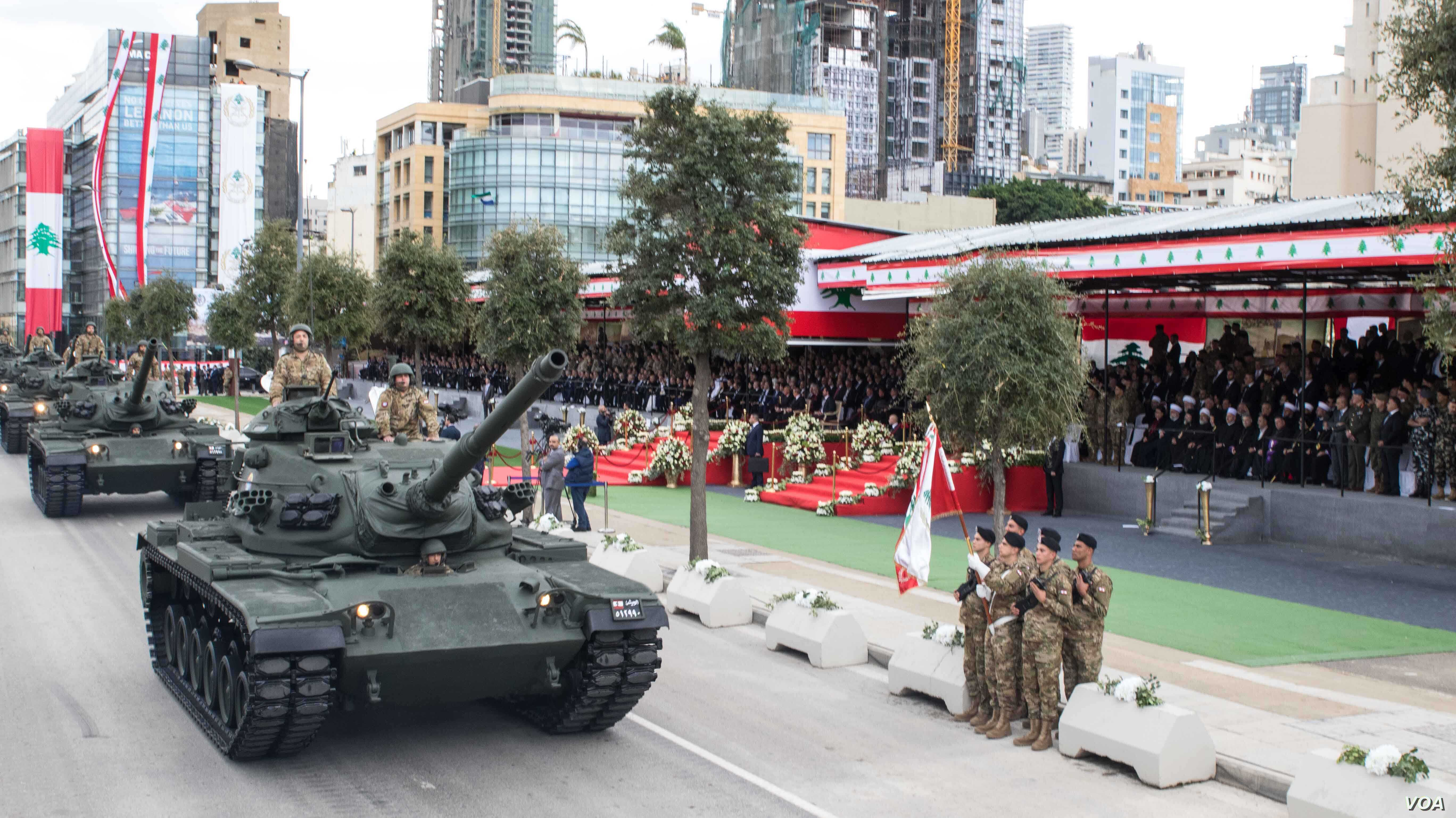 Lebanon displays its military strength at the parade marking Independence Day, Beirut, Lebanon, Nov. 22, 2017. (John Owens for VOA)