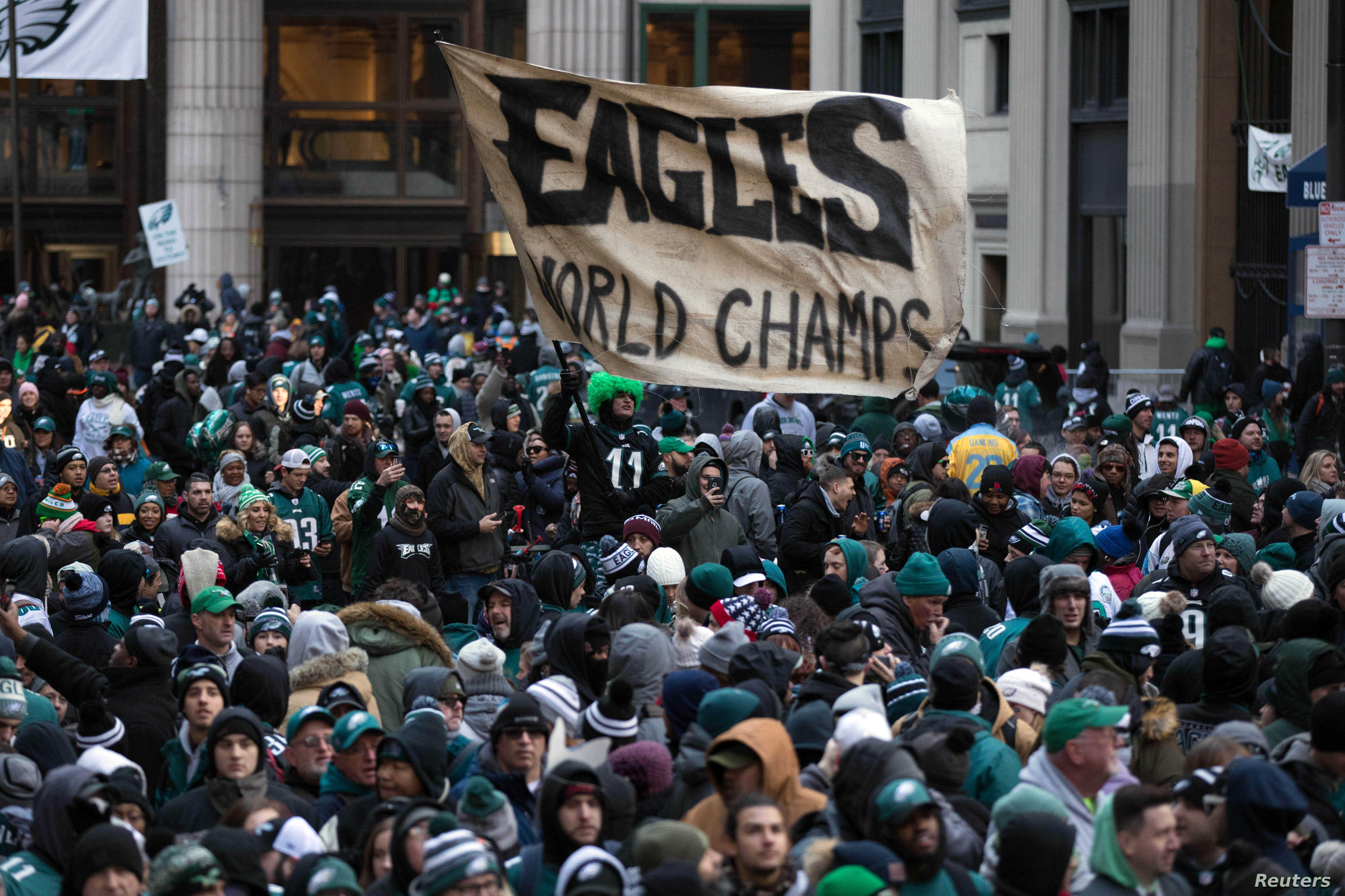 FILE - Philadelphia Eagles fans line the Super Bowl LII championship parade route outside City Hall in Philadelphia, Feb 8, 2018. (B. Streicher/USA Today)