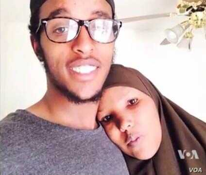 Abdi Mohamud Nur, shown in this undated photo with his mother, right, is believed to be fighting in Syria.