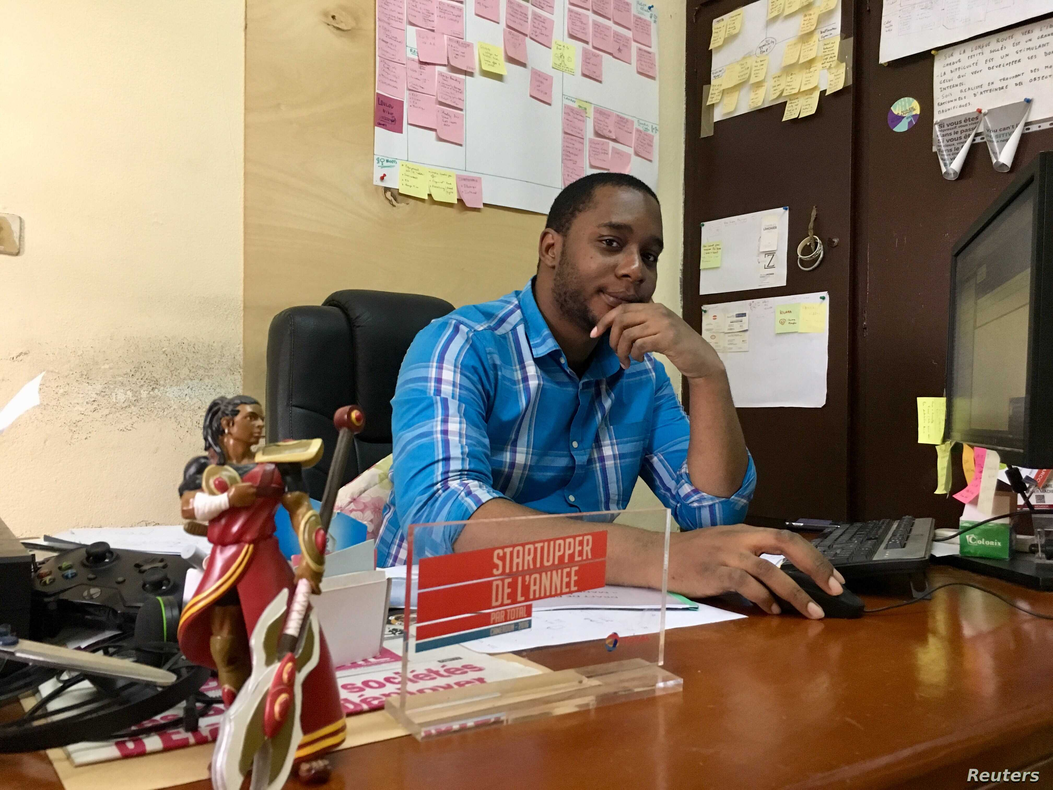 Kiro'o Games Games Founder and Chief Executive Officer Olivier Madiba in Kiro'o headquarters, Yaounde, Cameroon, Aug. 13, 2018.