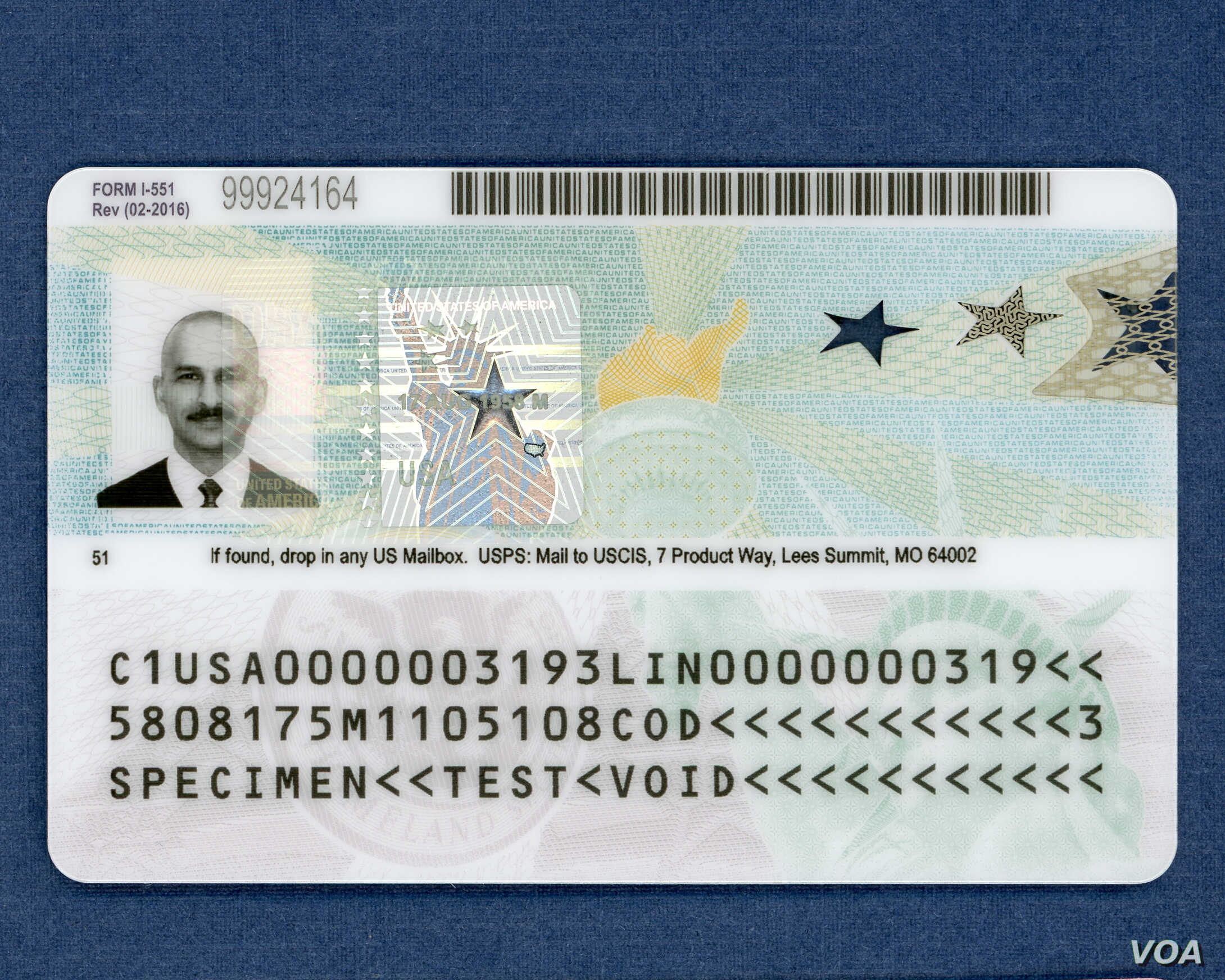 The back of the new tamper-resistant green cards issued by U.S. Citizenship and Immigration Services. (Photo courtesy of USCIS)