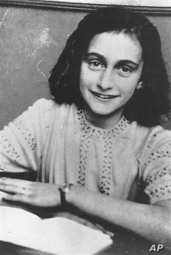 FILE - This is an undated photo of Anne Frank from the Anne Frank Center, USA.  (AP Photo/Anne Frank Center)