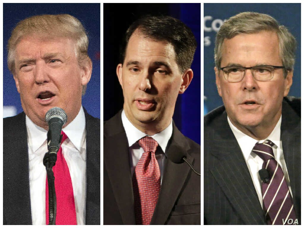 FILE - From left, Republican presidential candidates Donald Trump, Wisconsin Governor Scott Walker and former Florida Governor Jeb Bush will participate in the first election debate Thursday in Cleveland, Ohio.