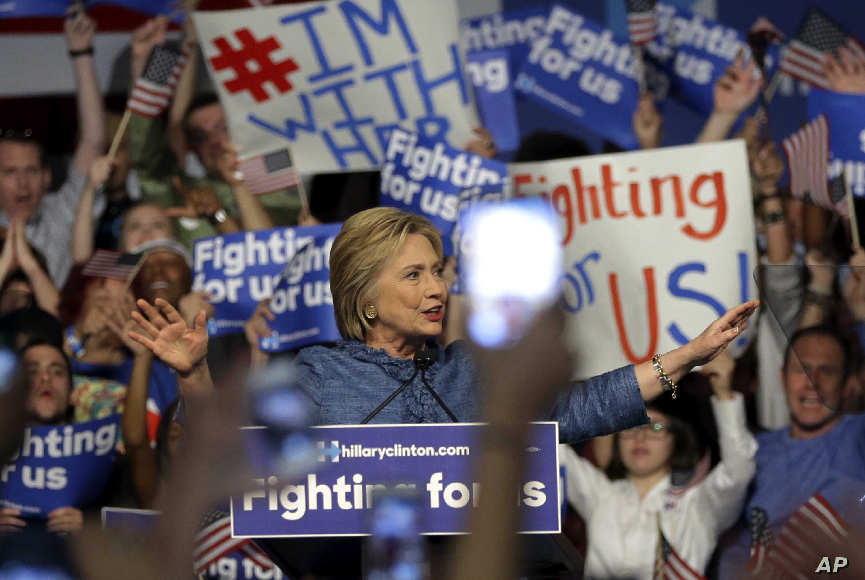 Democratic presidential candidate Hillary Clinton speaks during a rally in West Palm Beach, Florida, March 15, 2016.