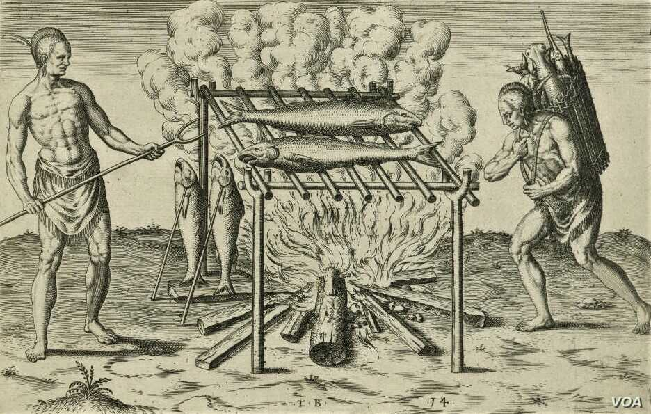 """""""The broiling of their fish over flame,"""" an engraving by Theodor De Bry, 1590. Courtesy of the John Carter Brown Library at Brown University."""