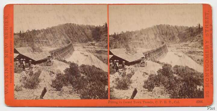 The Central Pacific Railroad started in California in the 1860s and was part of the first transcontinental railroad in America. It was built with the help of thousands of Chinese laborers.