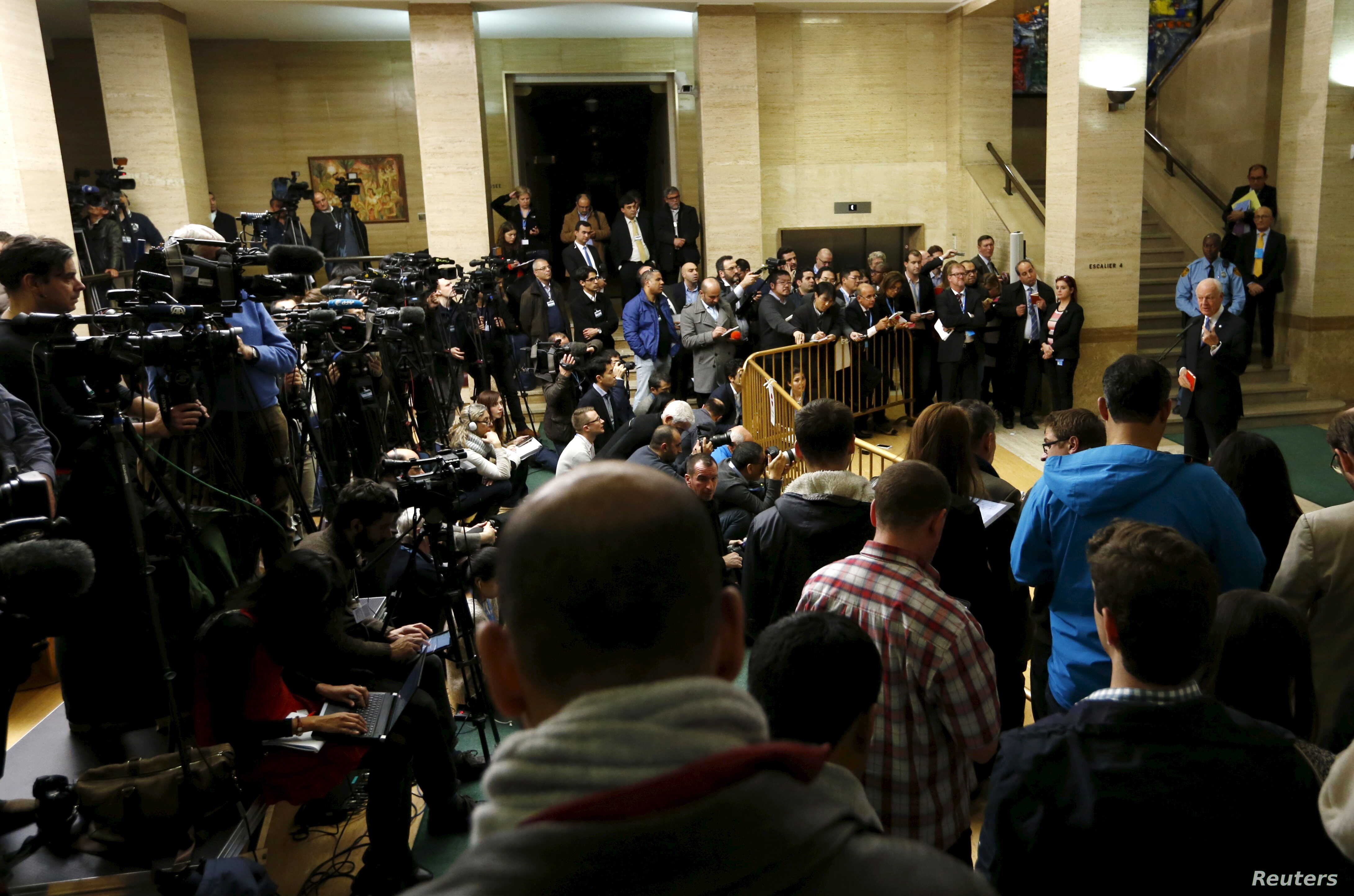 U.N. mediator for Syria Staffan de Mistura delivers a statement after the opening of the Syrian peace talks at the United Nations European headquarters in Geneva, Switzerland, Jan. 29, 2016.