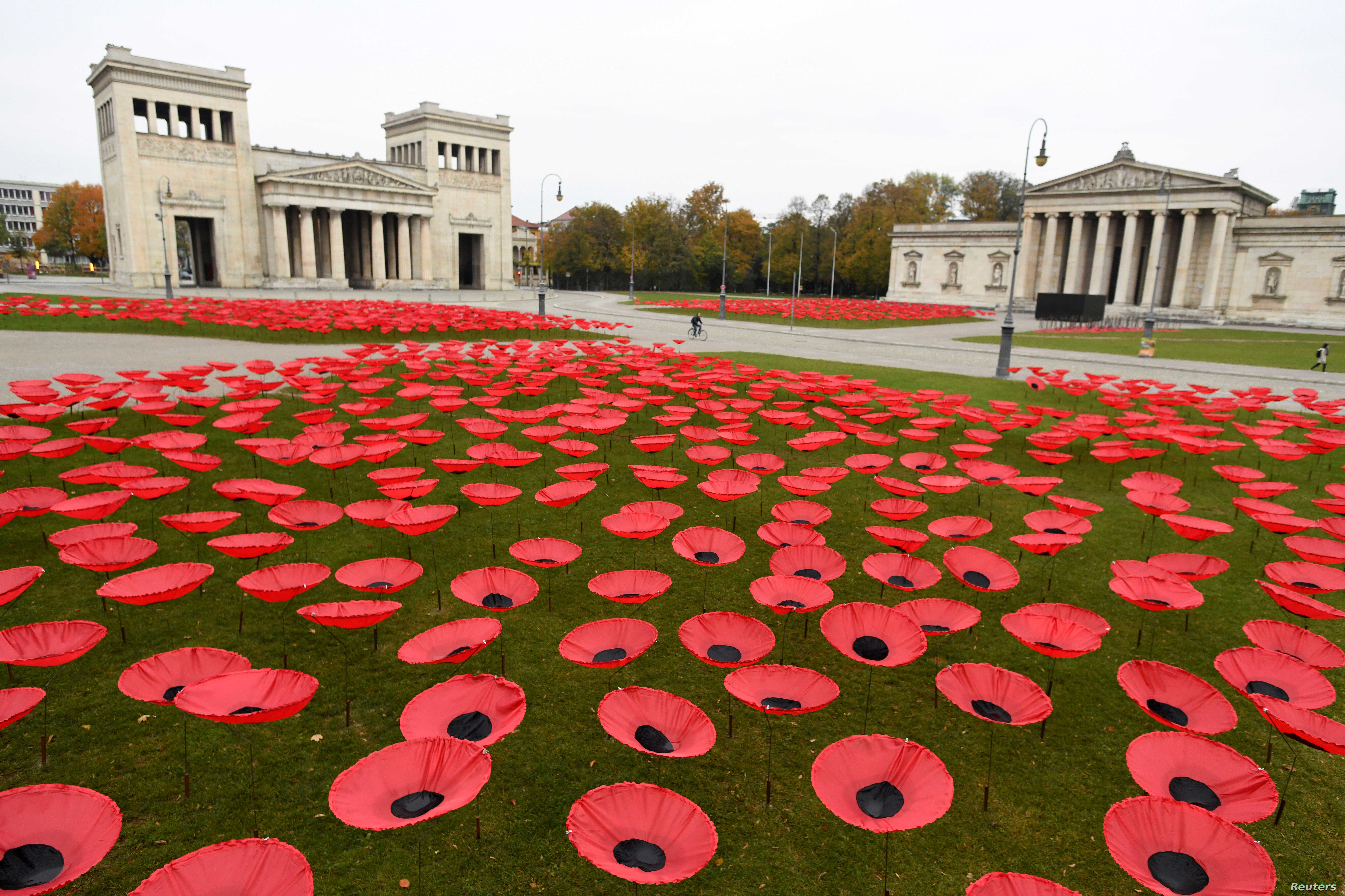 Poppy flowers are seen at Koenigsplatz in Munich, Germany, November 3, 2018, as Europe prepares to mark the centenary of the ending of World War I.