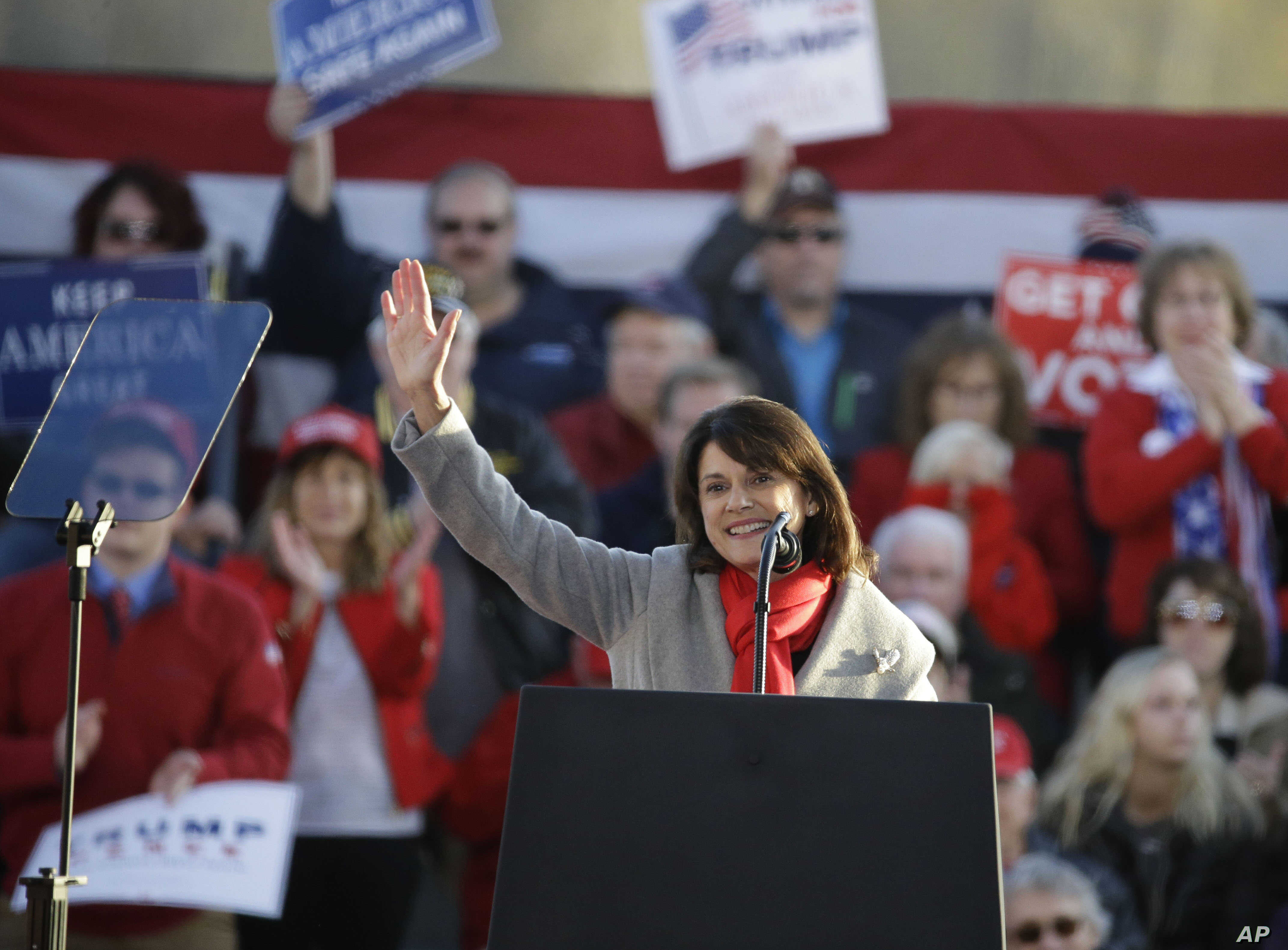 Wisconsin State Senator Leah Vukmir R-Wis., and Republican U.S. Senate candidate, speaks during a rally Oct. 24, 2018, in Mosinee, Wis. The rally will be headlined by President Donald Trump.