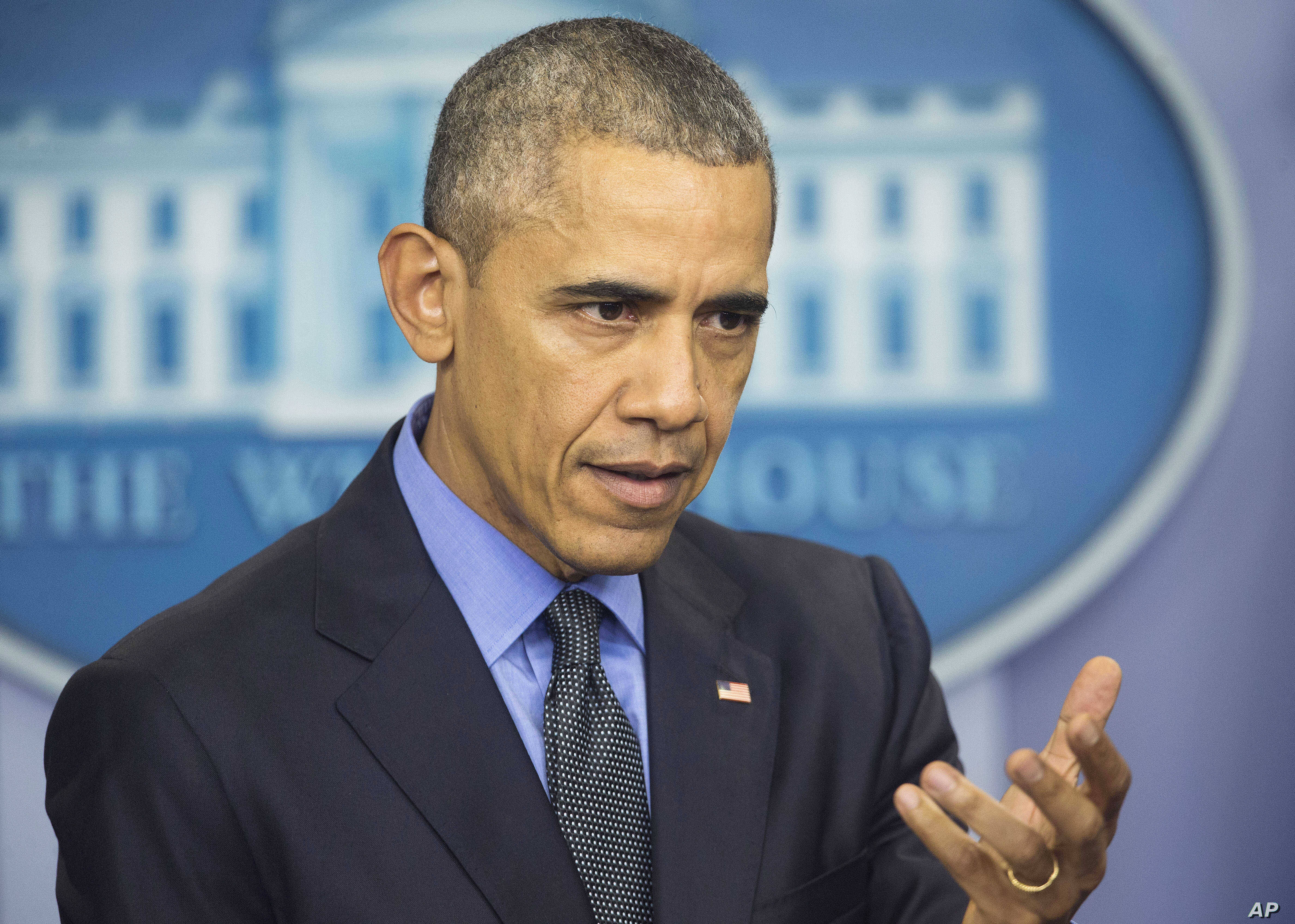 President Barack Obama speaks during a news conference in the White House Brady Press Briefing Room in Washington, Dec. 18, 2015.