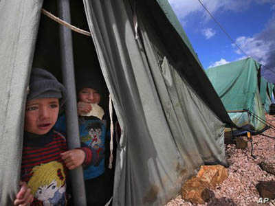 Syrian war refugees are also causing stress in Lebanon. The refugee camp shown here on January 7, 2013, is near the eastern town of Marj.