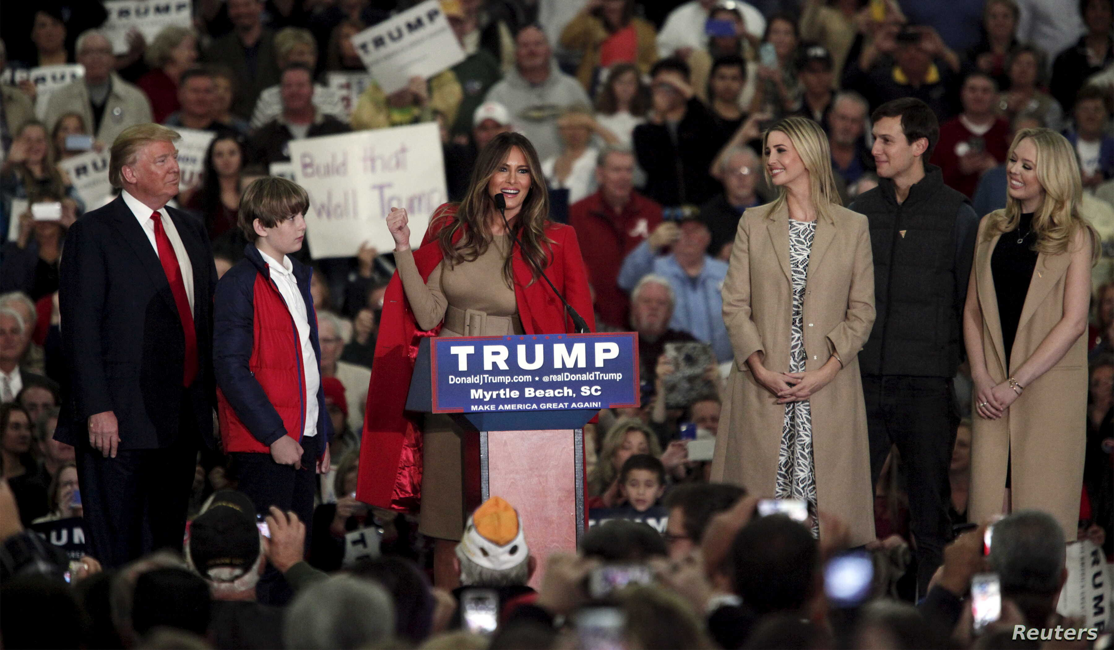 FILE - Melania Trump talks to the crowd as U.S. Republican presidential candidate Donald Trump introduces his family at a rally at the Myrtle Beach Convention Center in Myrtle Beach, South Carolina, Nov. 24, 2015.
