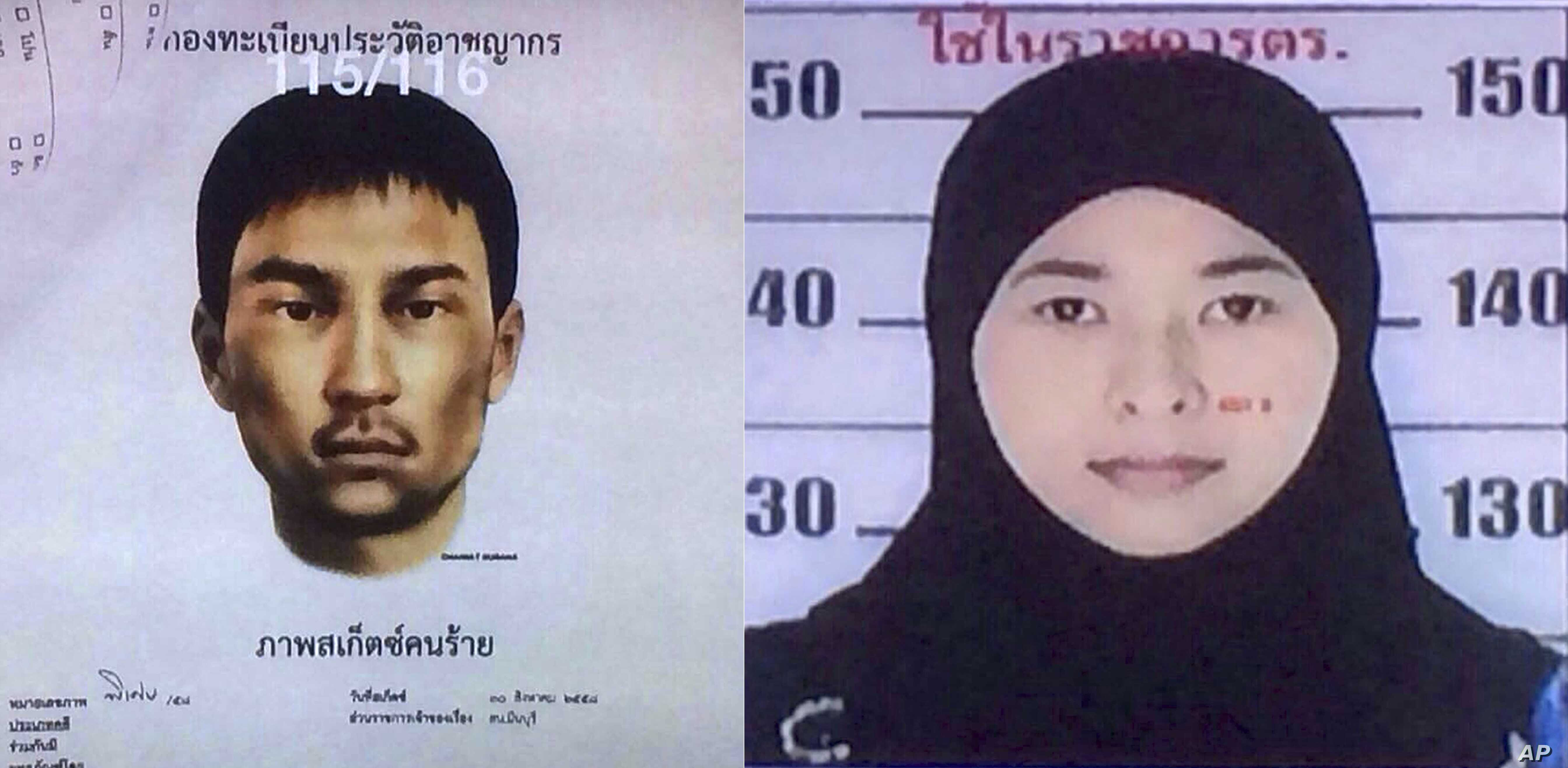 Images released Monday, Aug. 31, 2015, by the National Council for Peace and Order (NCPO) shows a sketch of an unidentified man who police say was living in the second apartment, which was raided by authorities in Min Buri, in Bangkok's outskirts, an...